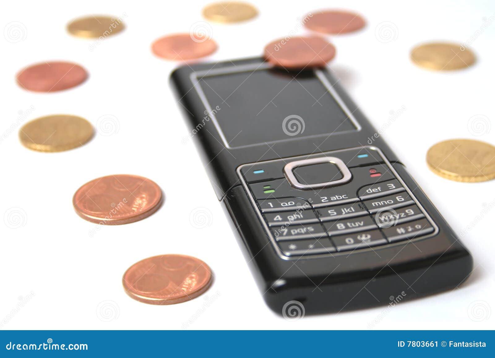 Telefono mobile e monete immagine stock immagine di for Mobile telefono