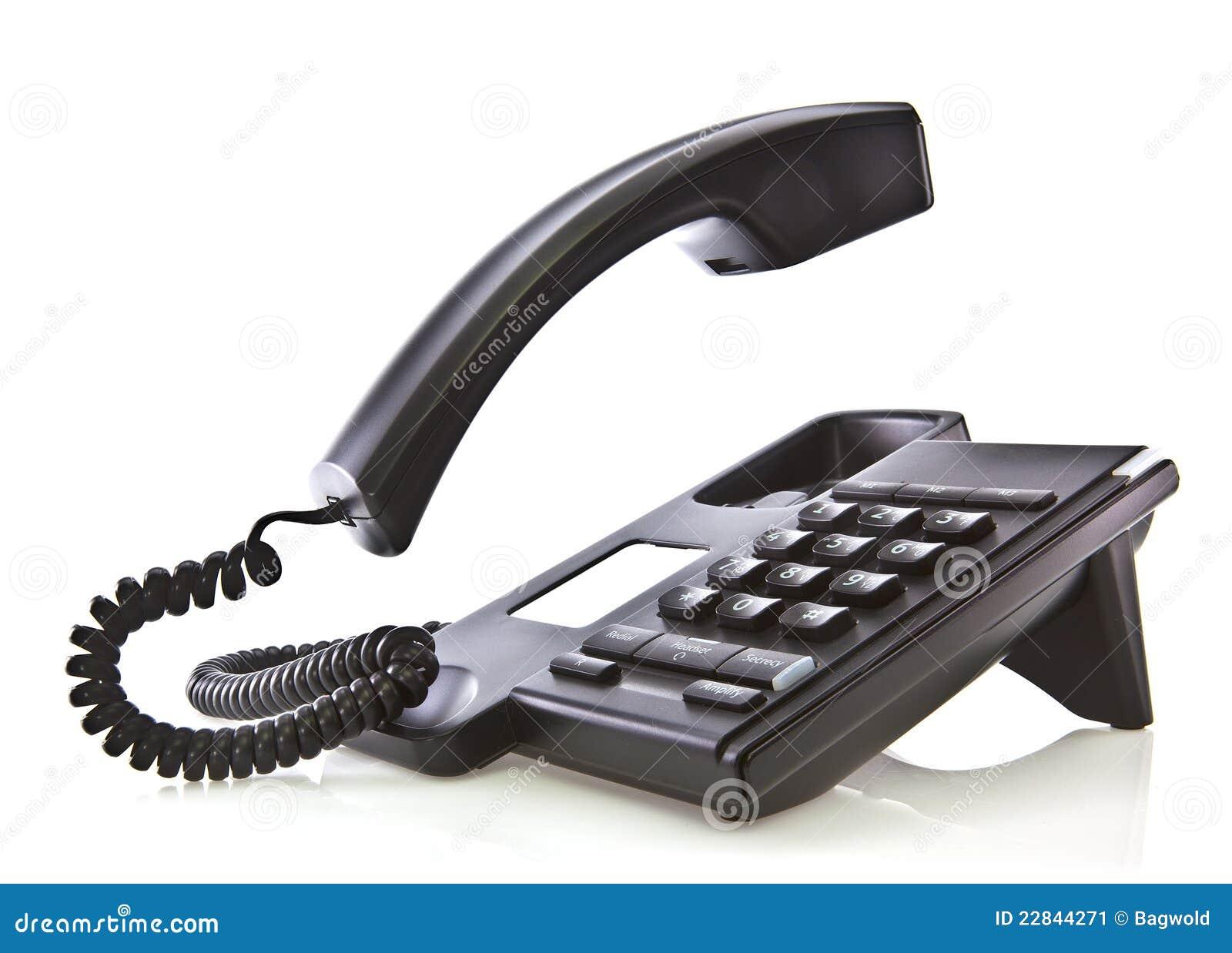 Telefono nero con il microtelefono di galleggiamento