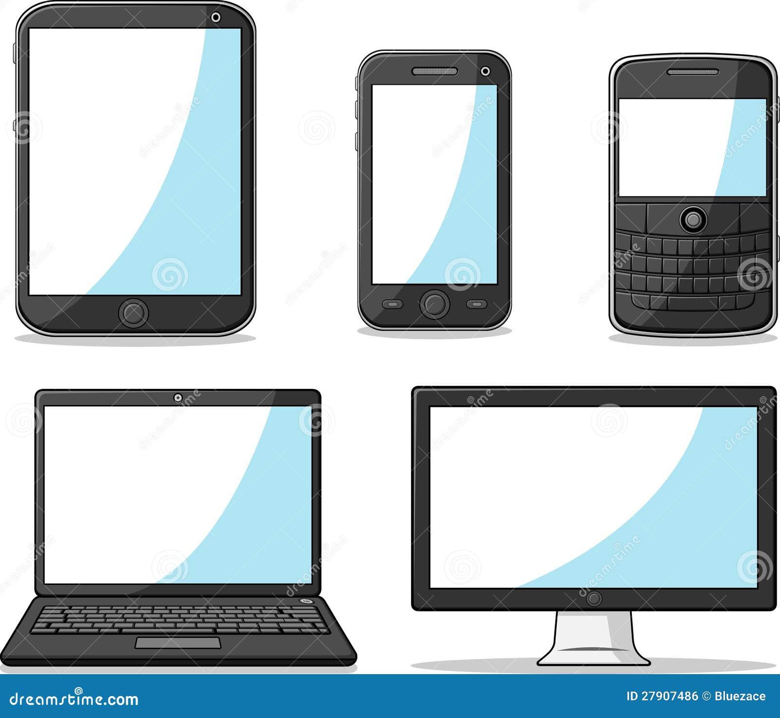 Telefono, ridurre in pani, computer portatile e calcolatore astuti