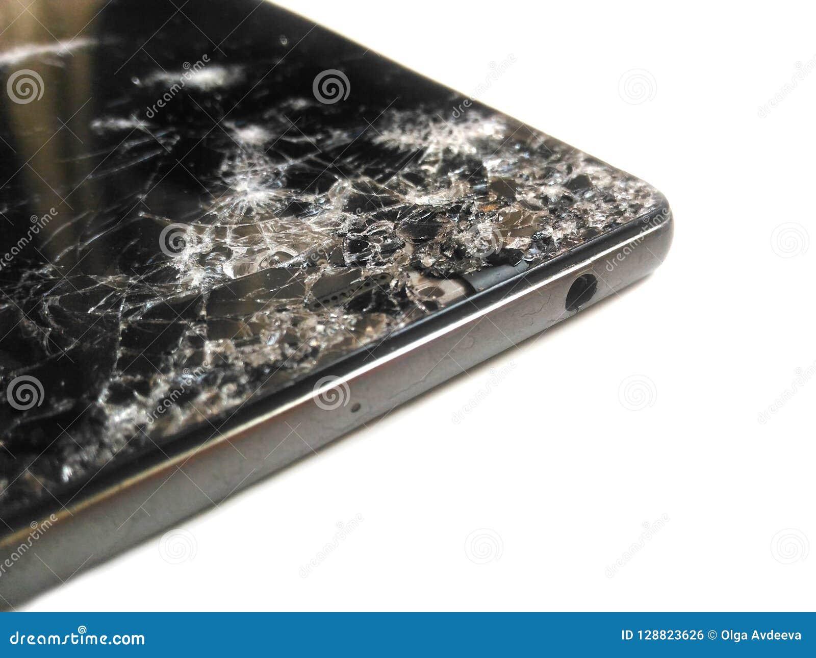 Telefono Rotto Della Crepa Dello Schermo Smartphone Nero Su Un Fondo