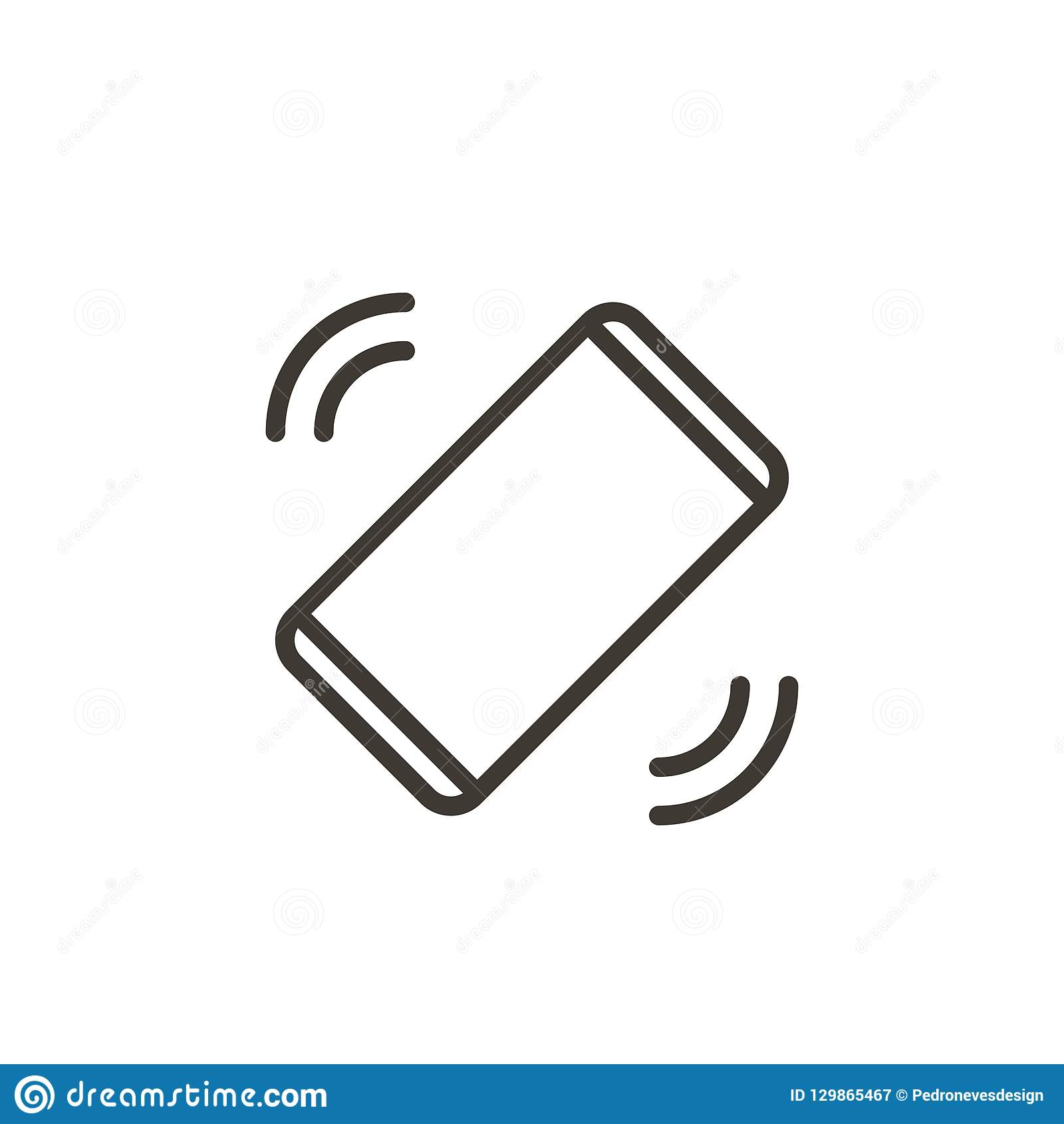 Telefonu komórkowego dzwonienie lub rozedrgany dostawanie wiadomość lub wezwanie Wektor cienka kreskowa ikona smartphone,
