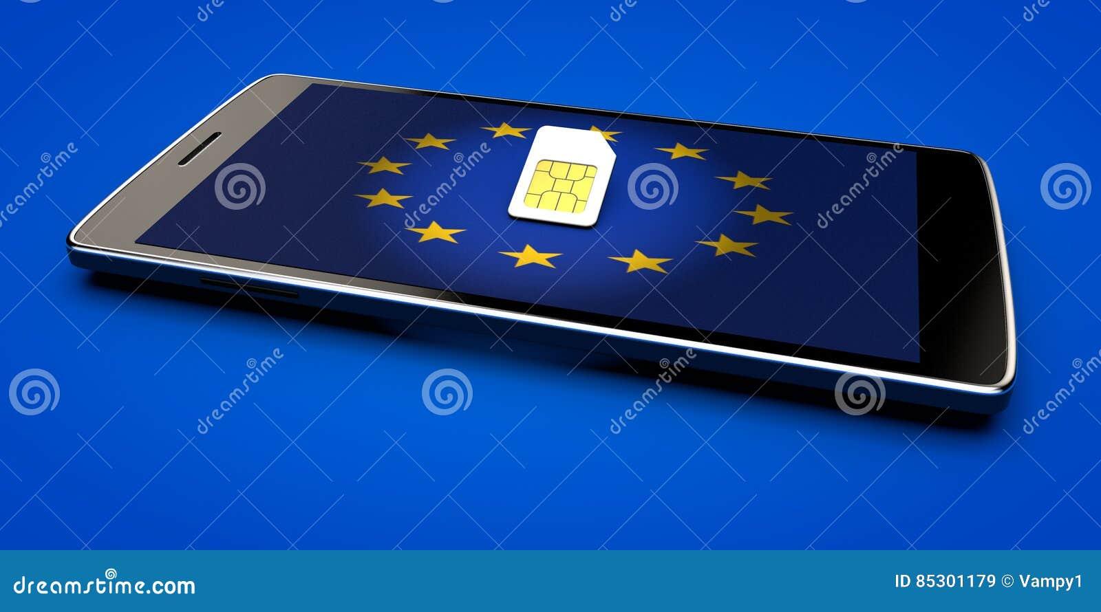 Telefonu Komórkowego i sim karta, abolicja wędrować w Europejskim zjednoczeniu dostępne Europę flagi okulary stylu wektora
