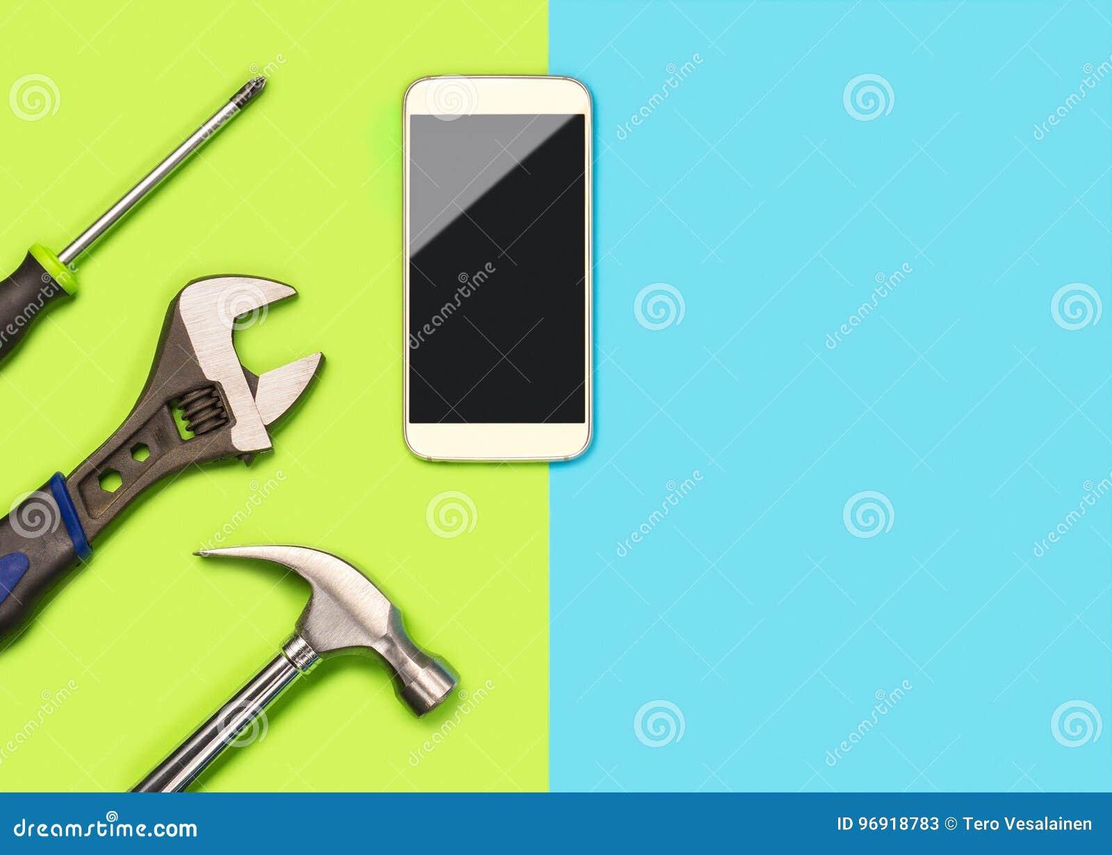 Telefonu komórkowego układ dla smartphone naprawiania firmy lub Sztandar z mnóstwo bezpłatną puste miejsce kopii przestrzenią dla