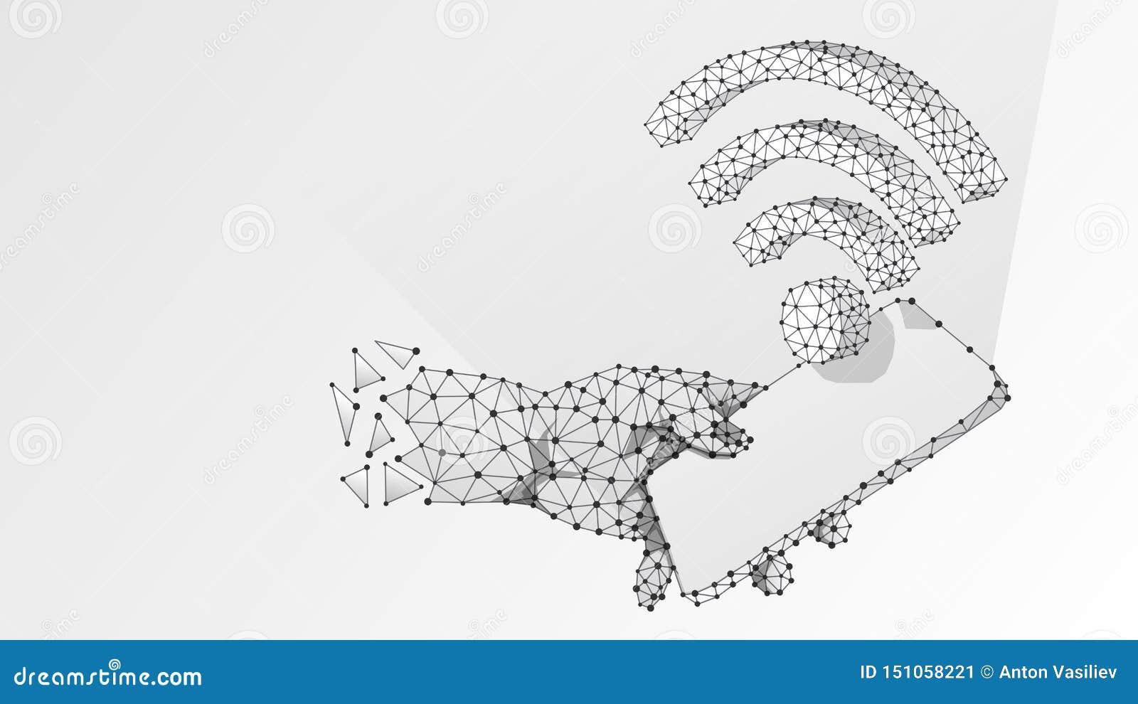 Telefoon in een hand met WiFi-symbool op het mobiele scherm De aansluting van Internet concept Digitale samenvatting, wireframe,