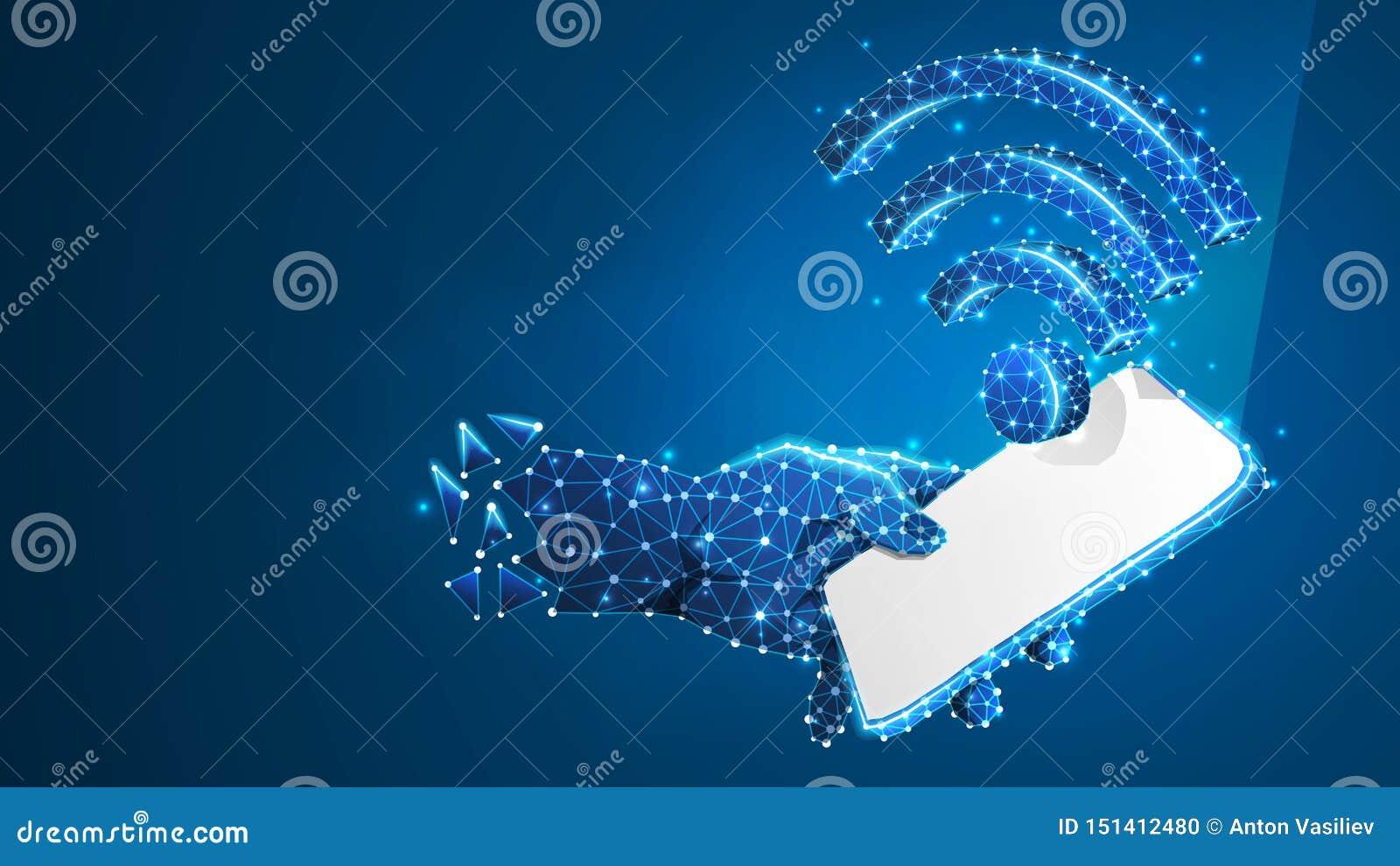 Telefoon in een hand met WiFi-symbool op het witte mobiele scherm De aansluting van Internet concept Digitale samenvatting, wiref