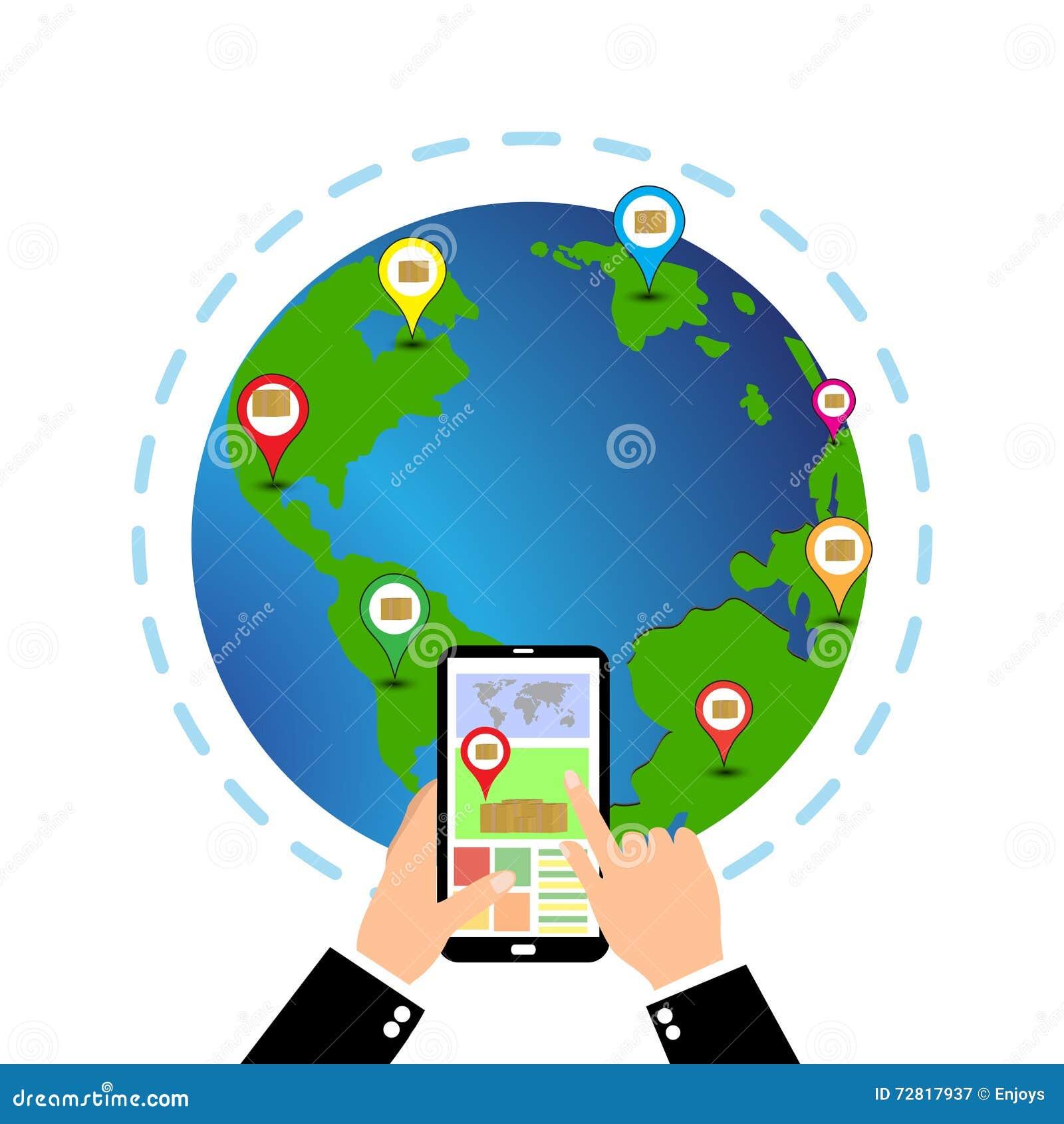 Telefoon met interface mobiele app voor de ladingsdienst op het scherm