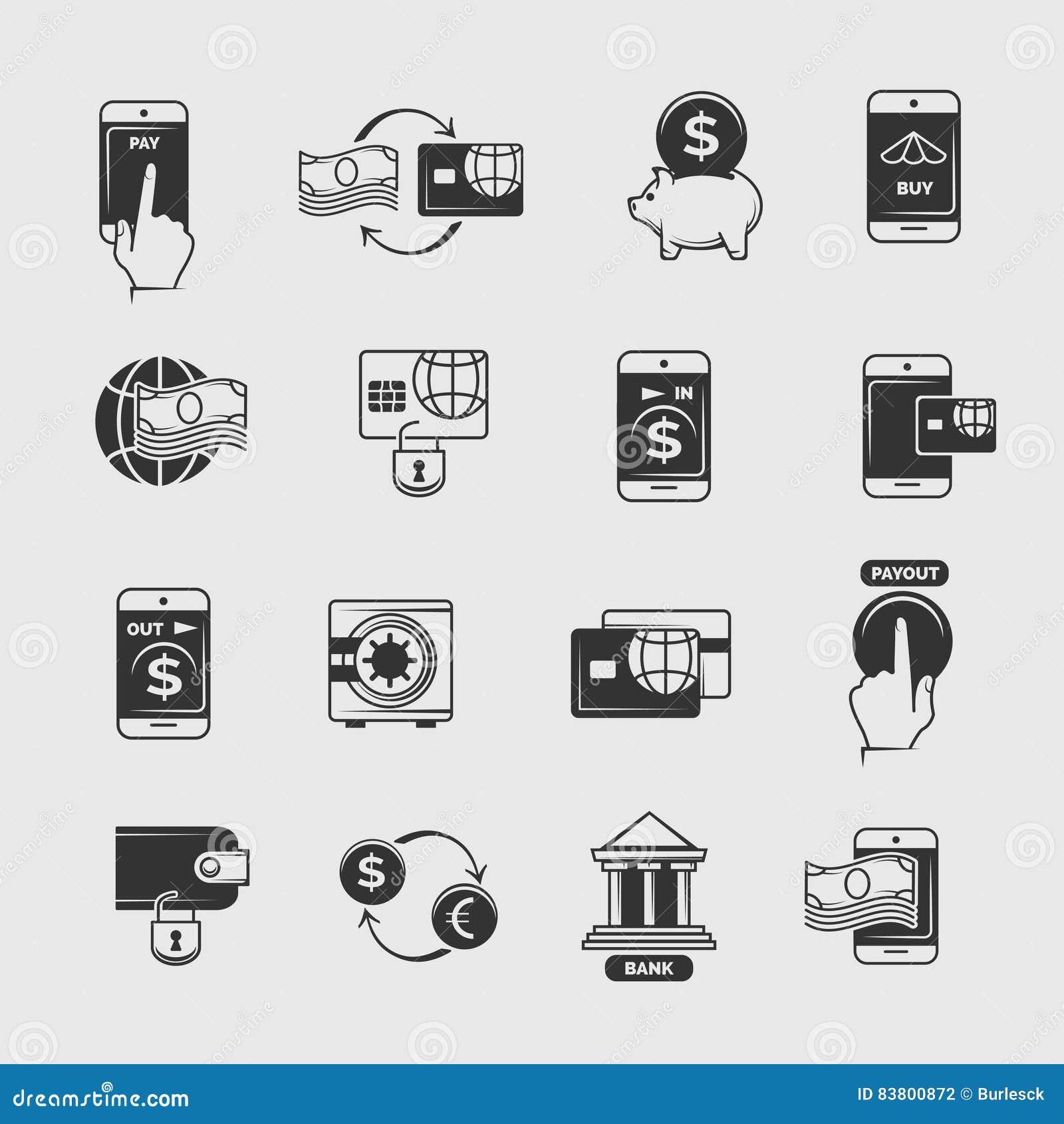 Telefoonbetaling, mobiel Internet-bankwezen, de elektronische vectorpictogrammen van de geldoverdracht