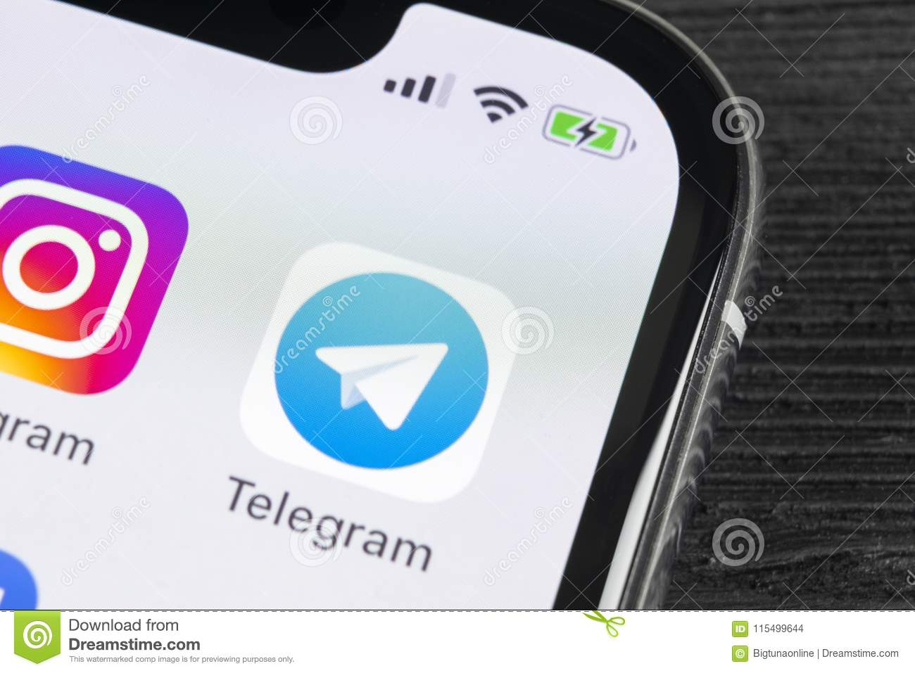 Telegram Application Icon On Apple Iphone X Screen Close Up