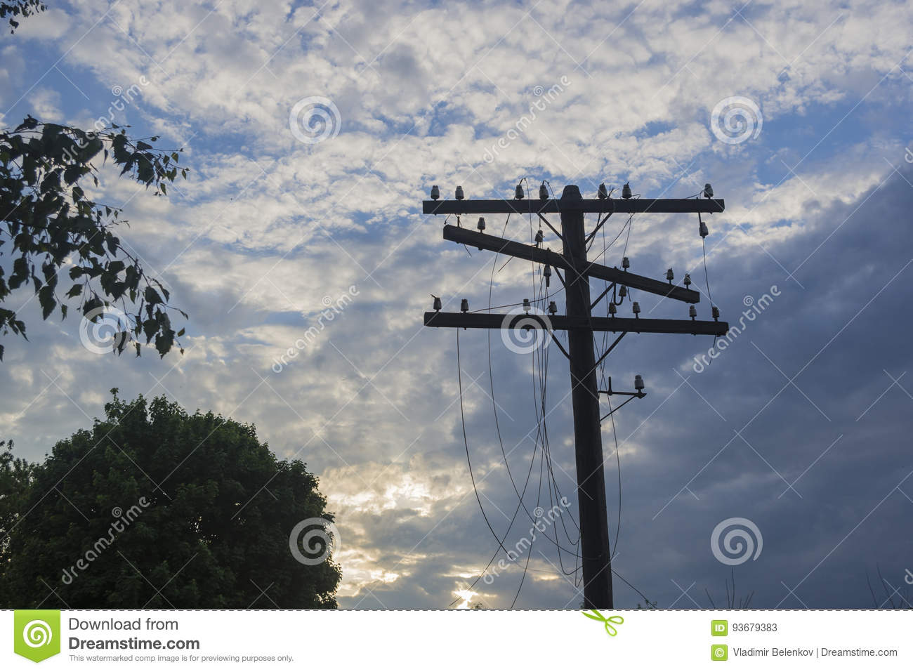 A Telegraph Pole With Torn Wires Stock Image - Image of industrial ...