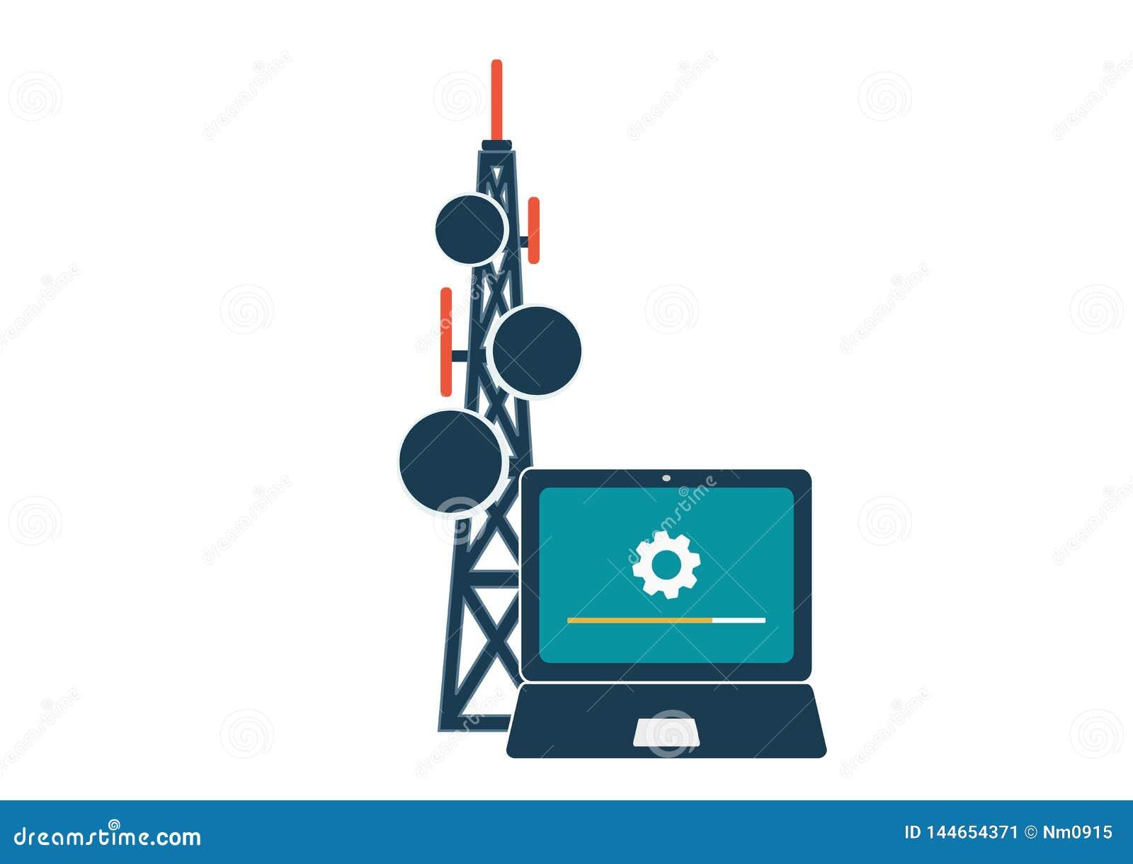 Telekommunikation och trådlöst anslutningsteknologibegrepp
