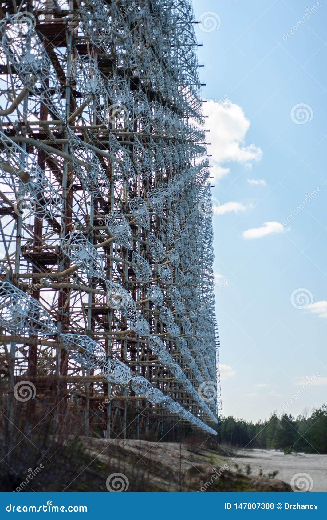 Telekommunikationradiomitt i Pripyat, Tjernobyl område som är bekant som 'bågen 'eller 'Duga ',