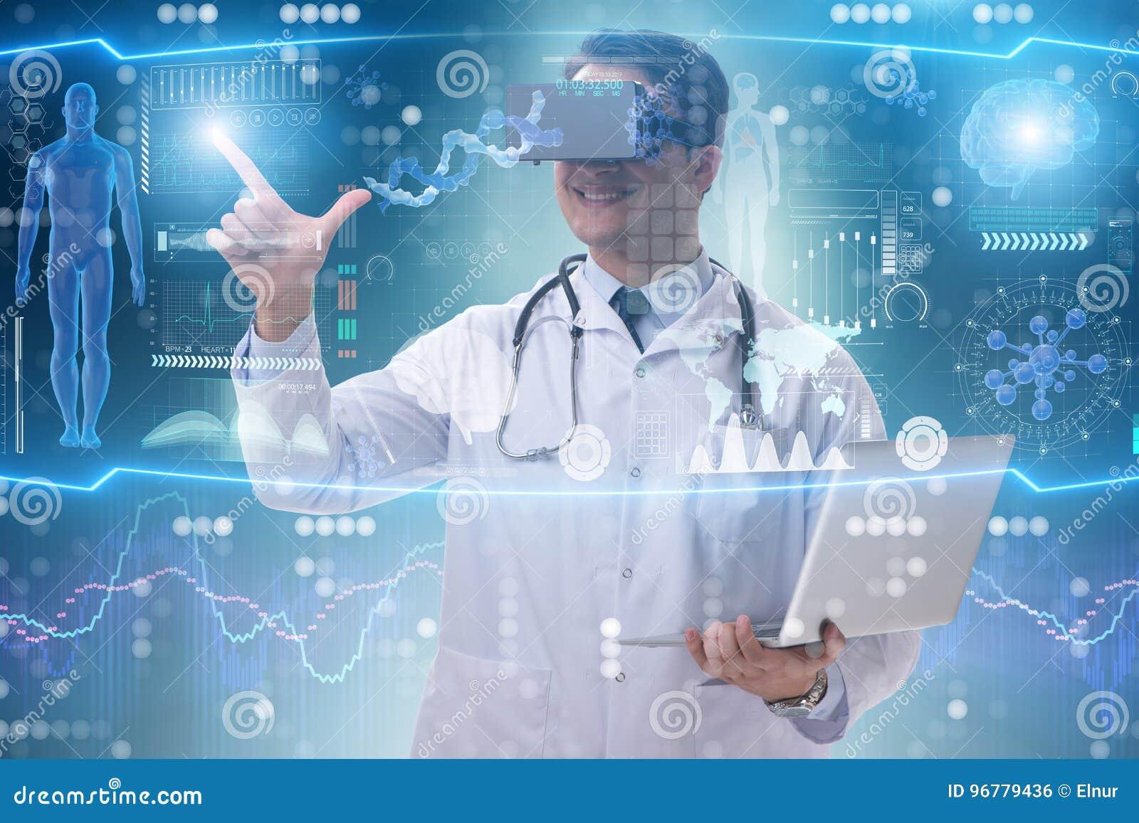 Telemedicinebegreppet med bärande vrexponeringsglas för doktor