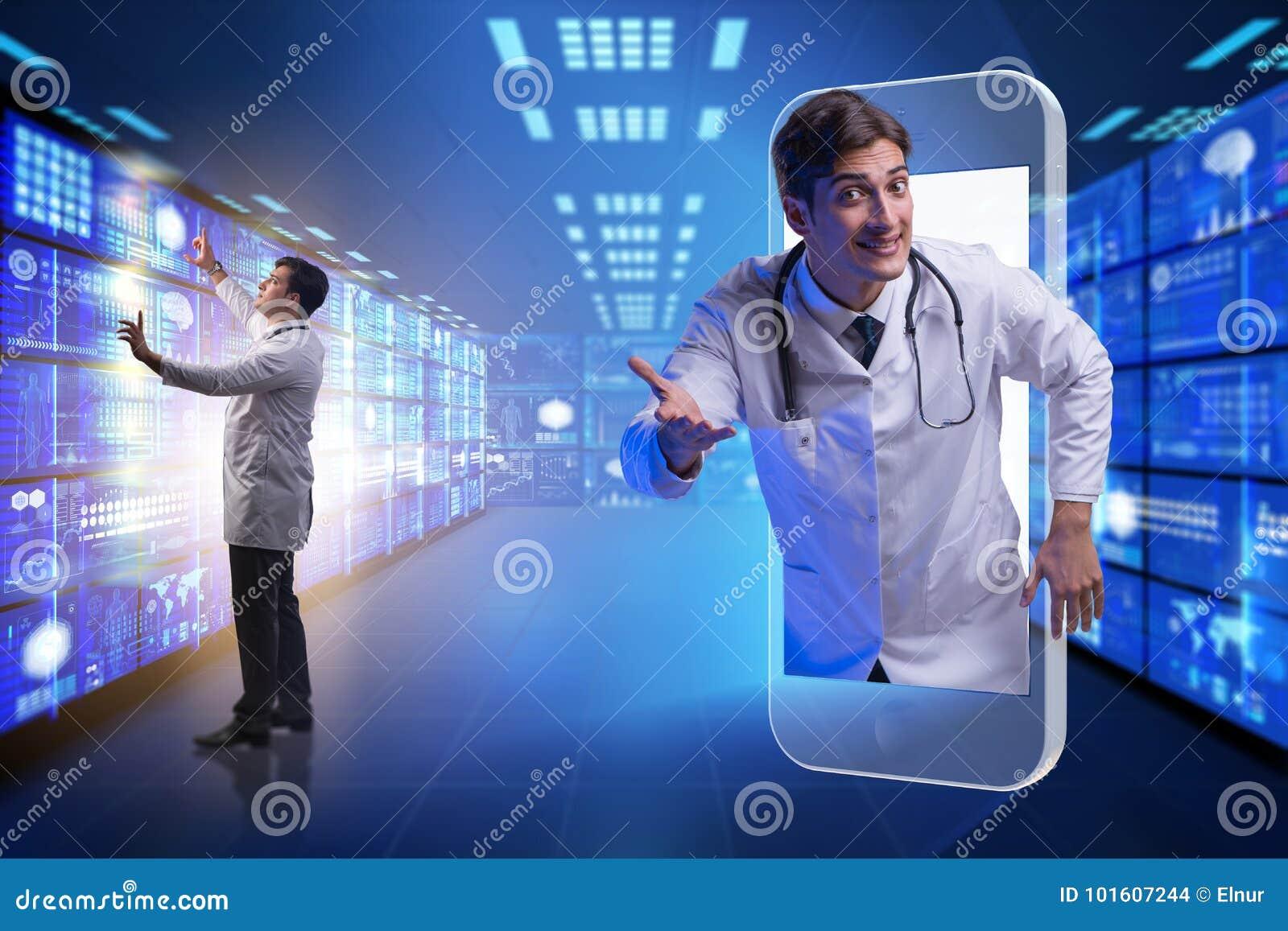 Telemedicinebegreppet med doktorn och smartphonen