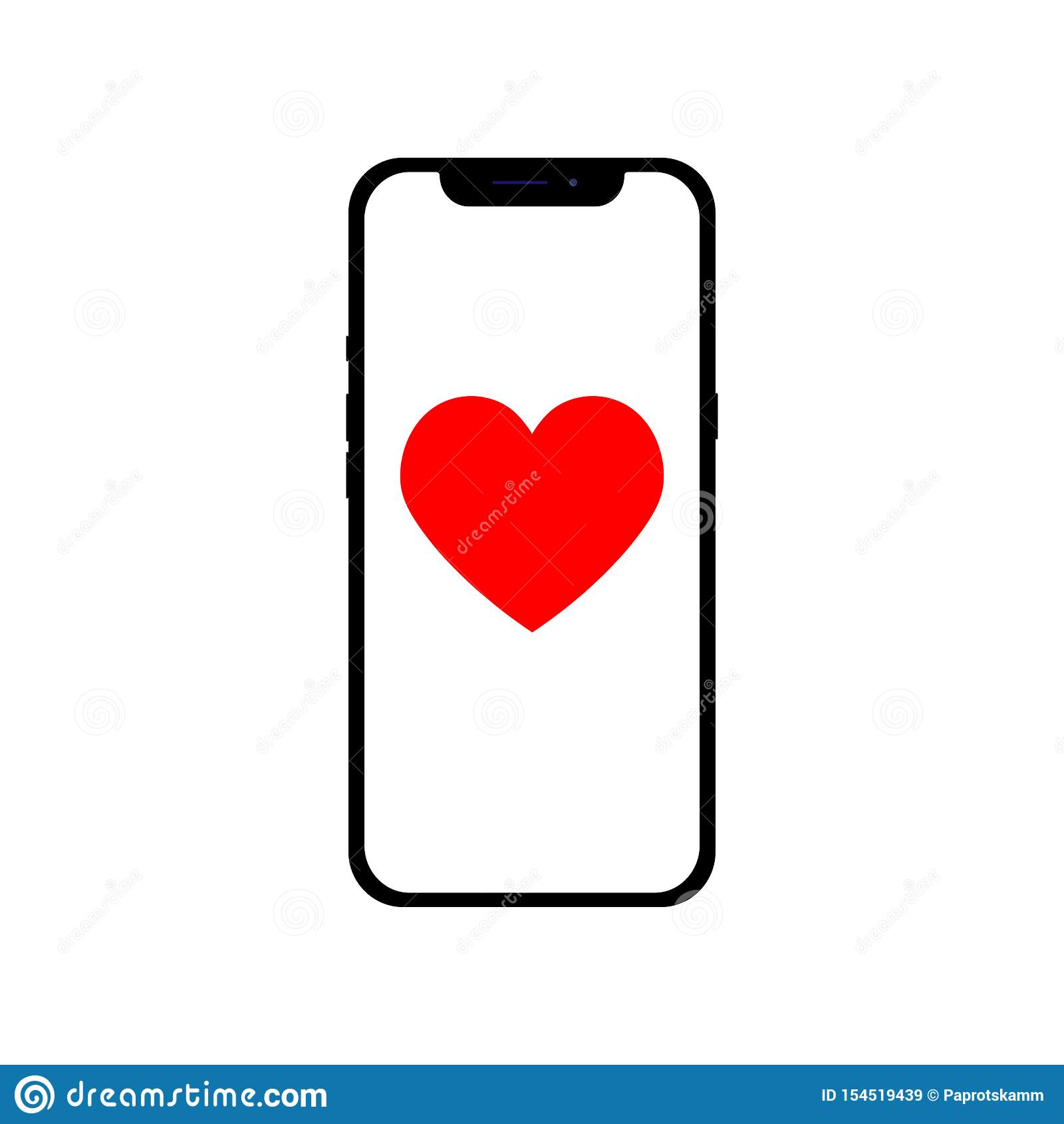 Telephone with icon heart for different purposes, flat design infographic illustration
