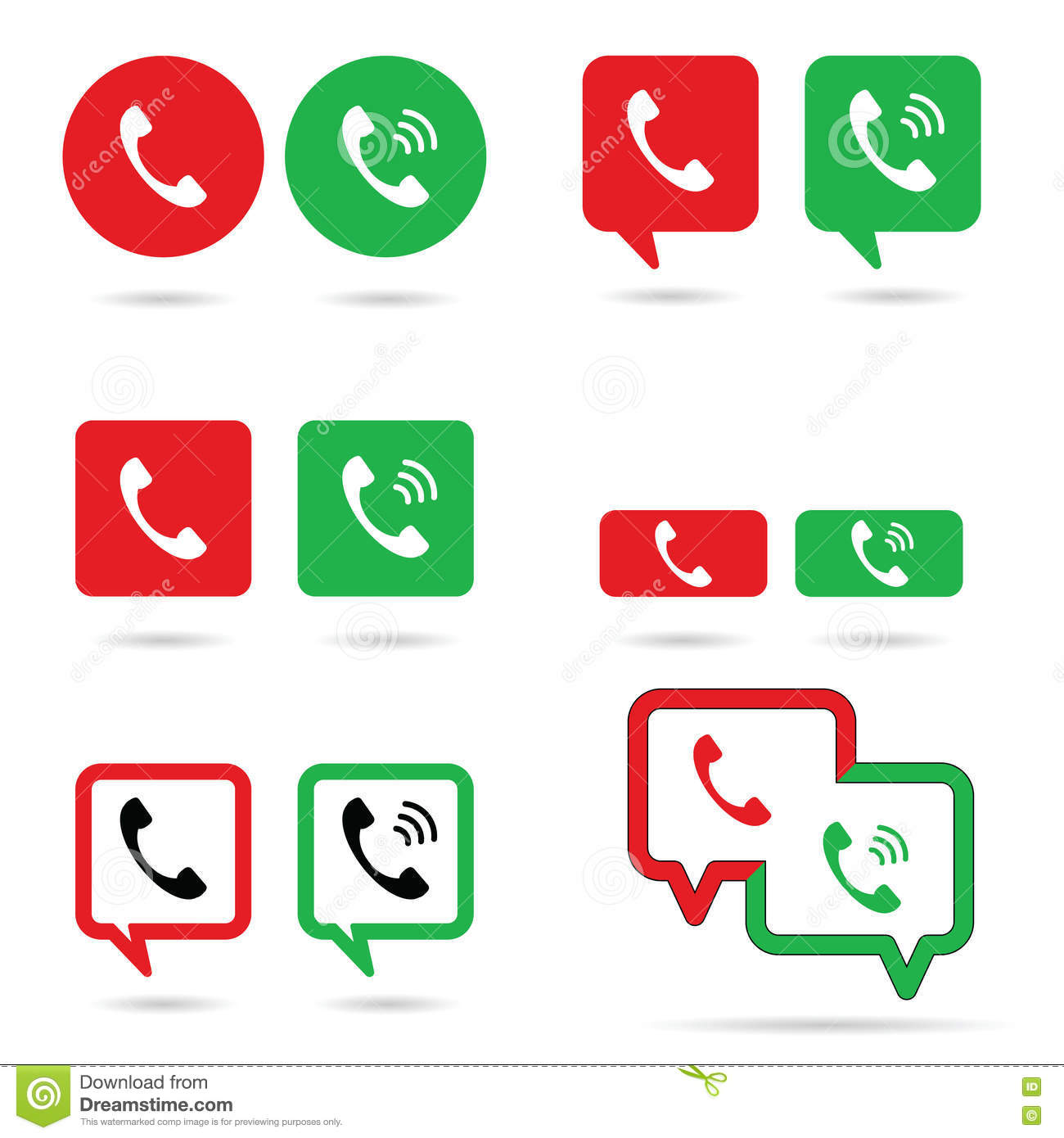 Telephone Icon Set In Red And Green Color Illustration Stock Vector ...