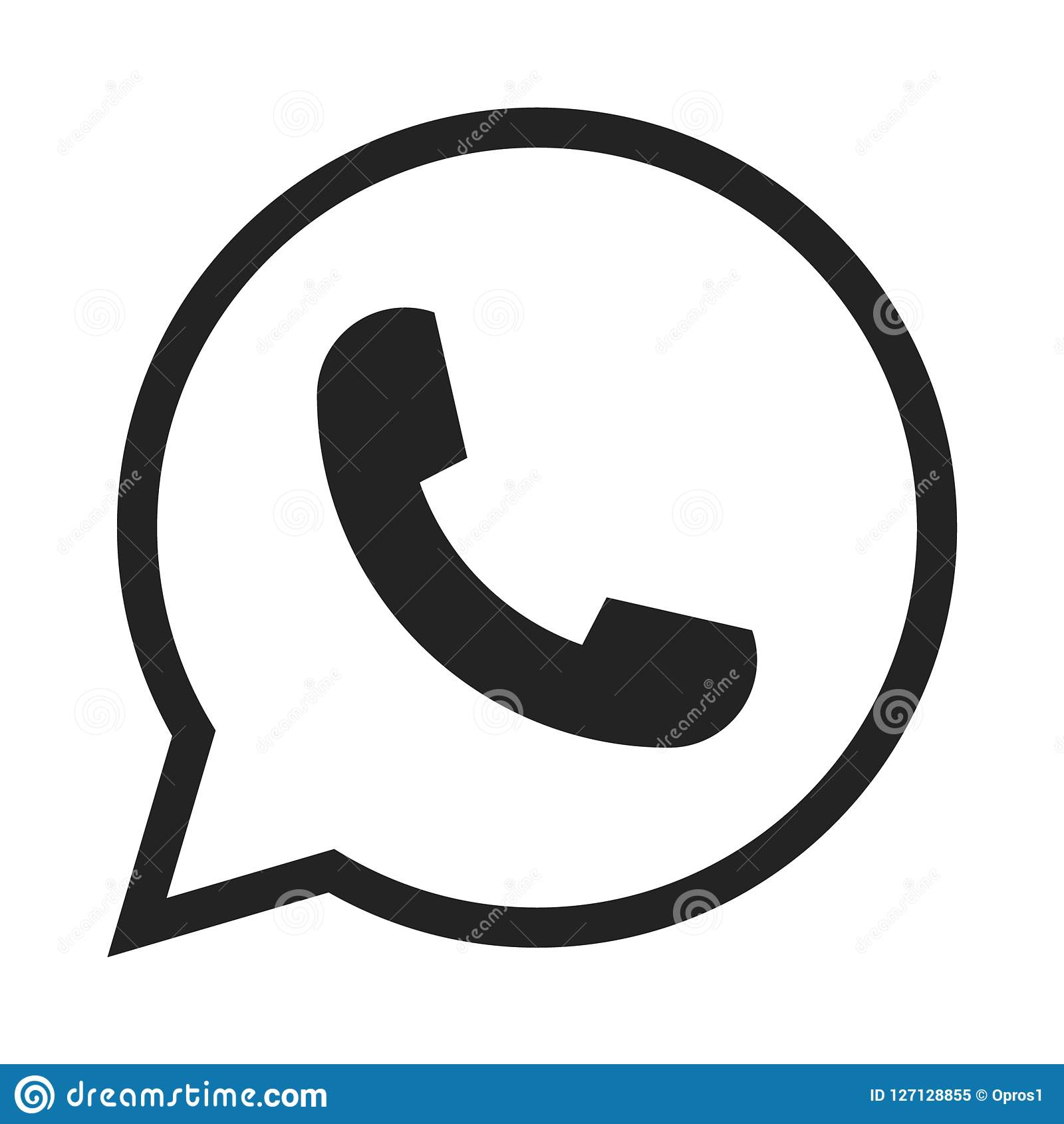Telephone icon symbol, vector, whatsapp logo symbol. Phone pictogram, flat vector sign isolated on white background