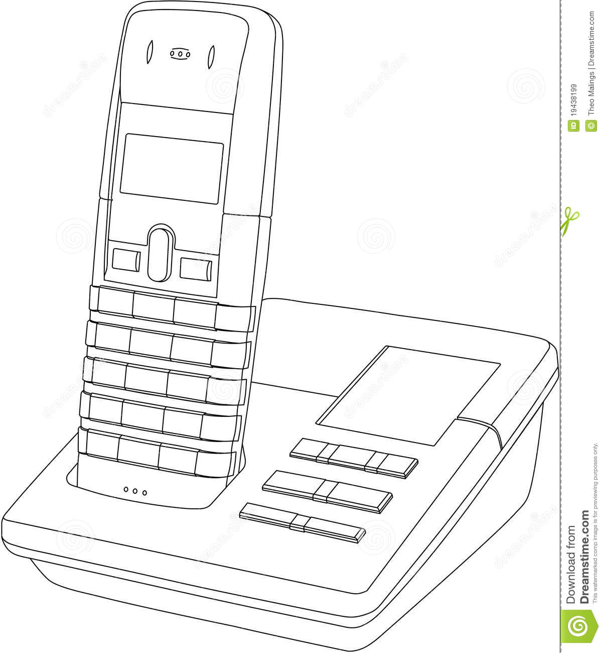 Telephone Line Drawing Stock Vector Illustration Of