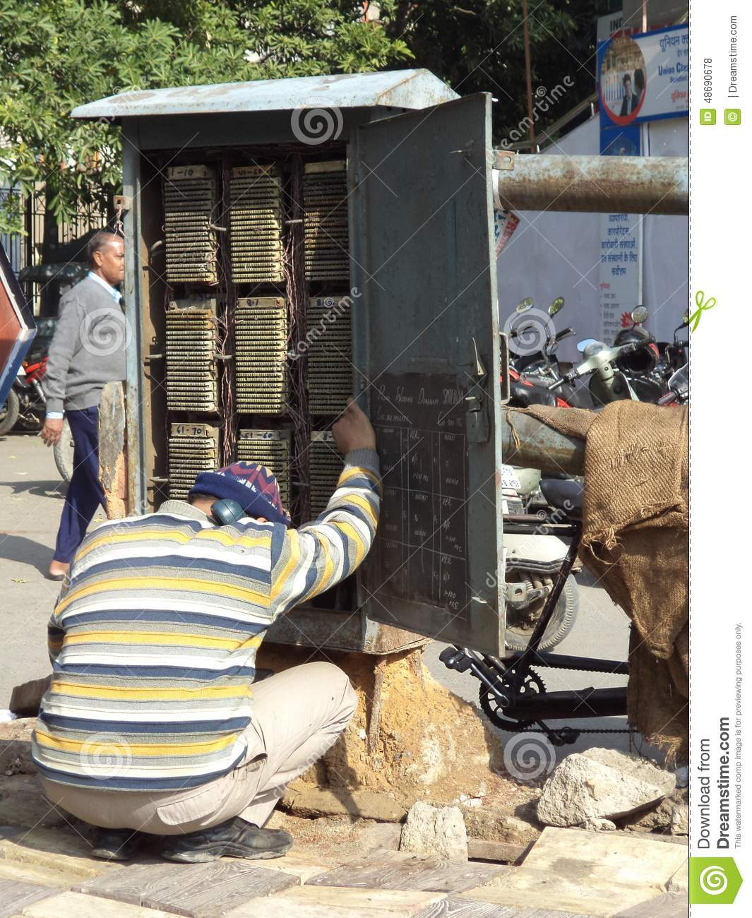Outdoor Telephone Wiring Box Manual Of Diagram Lineman Checking Junction New Delhi India Editorial Rh Dreamstime Com