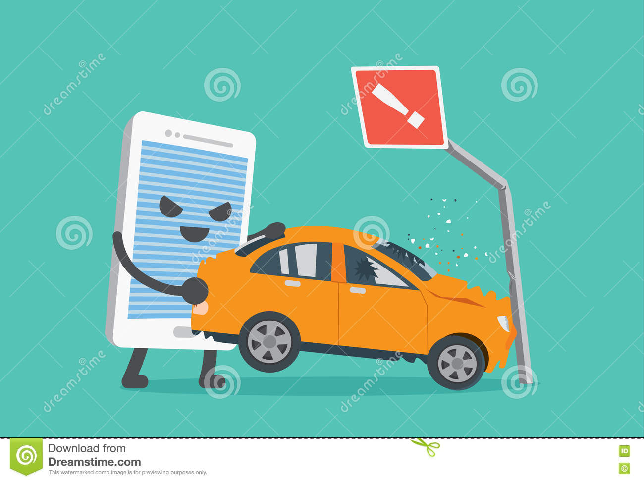 Telephone Make Car Accident. Stock Vector - Illustration of dead ...