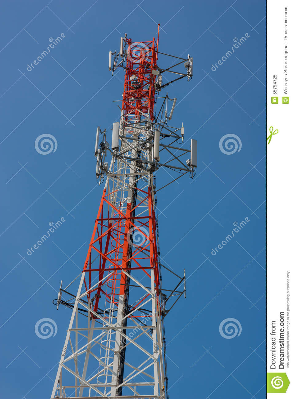 Telephone Pole With Clear Blue Sky  Stock Image - Image of