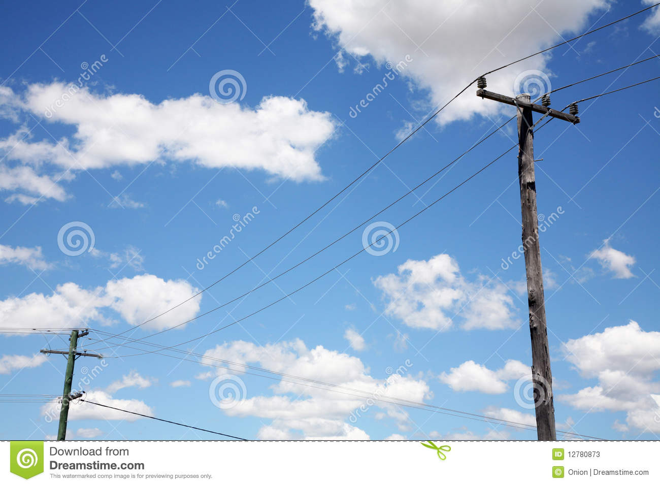 Telephone poles with wires stock image. Image of cloudy - 12780873