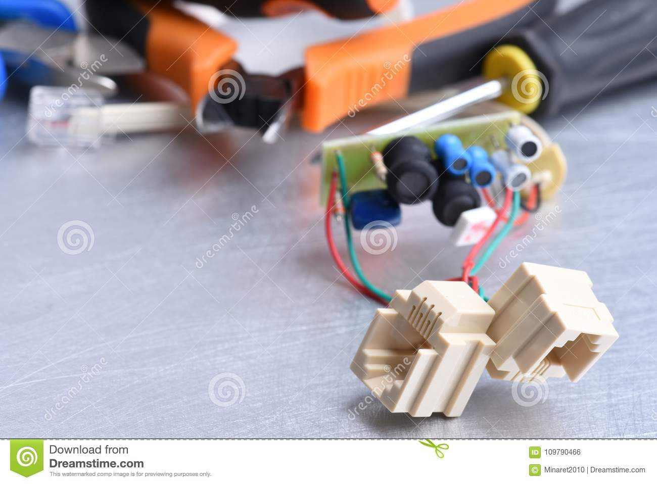 Telephone Socket And Tools Listening Devices For Spying Bug Stock Sockets Wiring