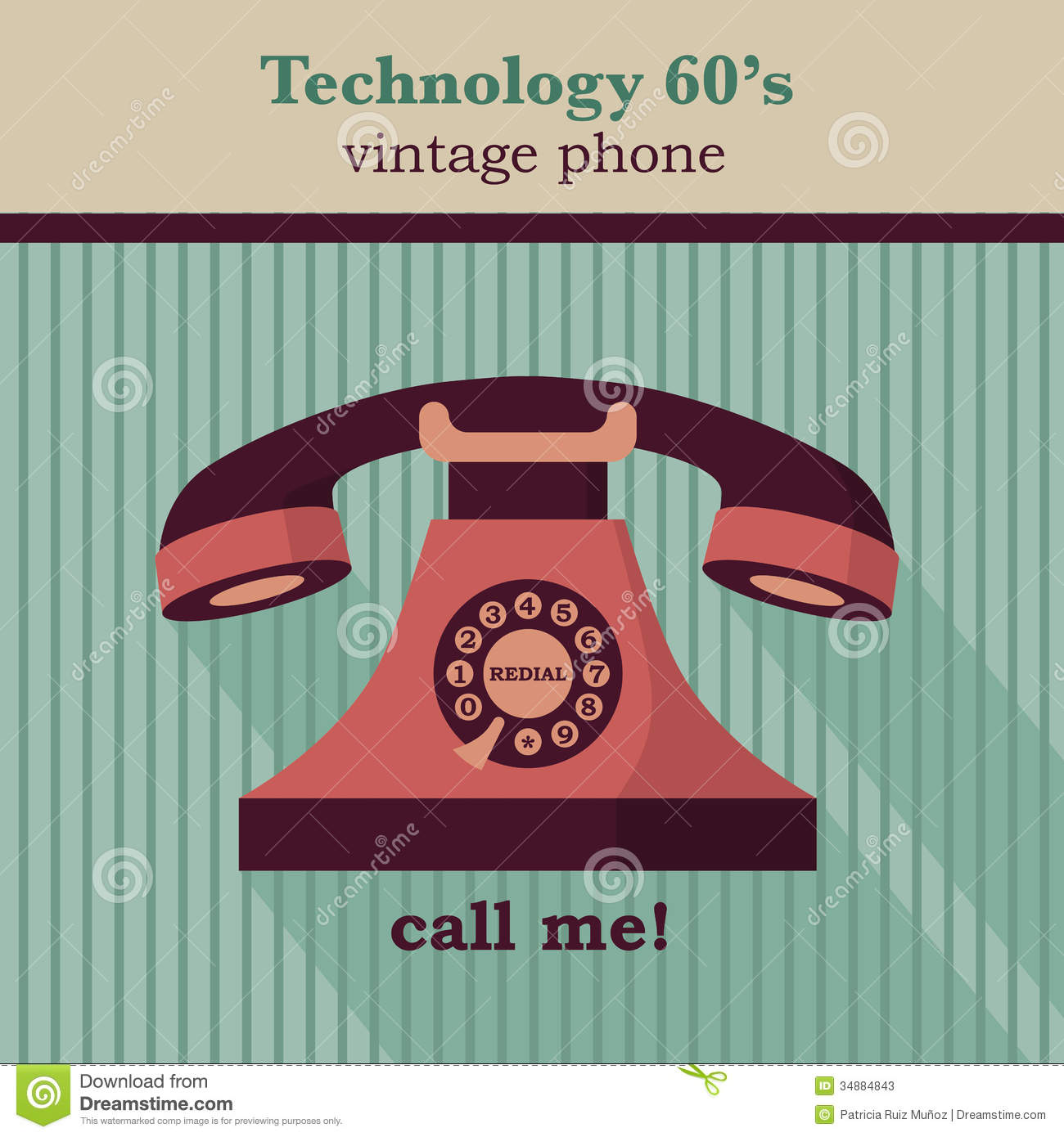 Vector illustration of a vintage telephone Vintage Telephone Illustration
