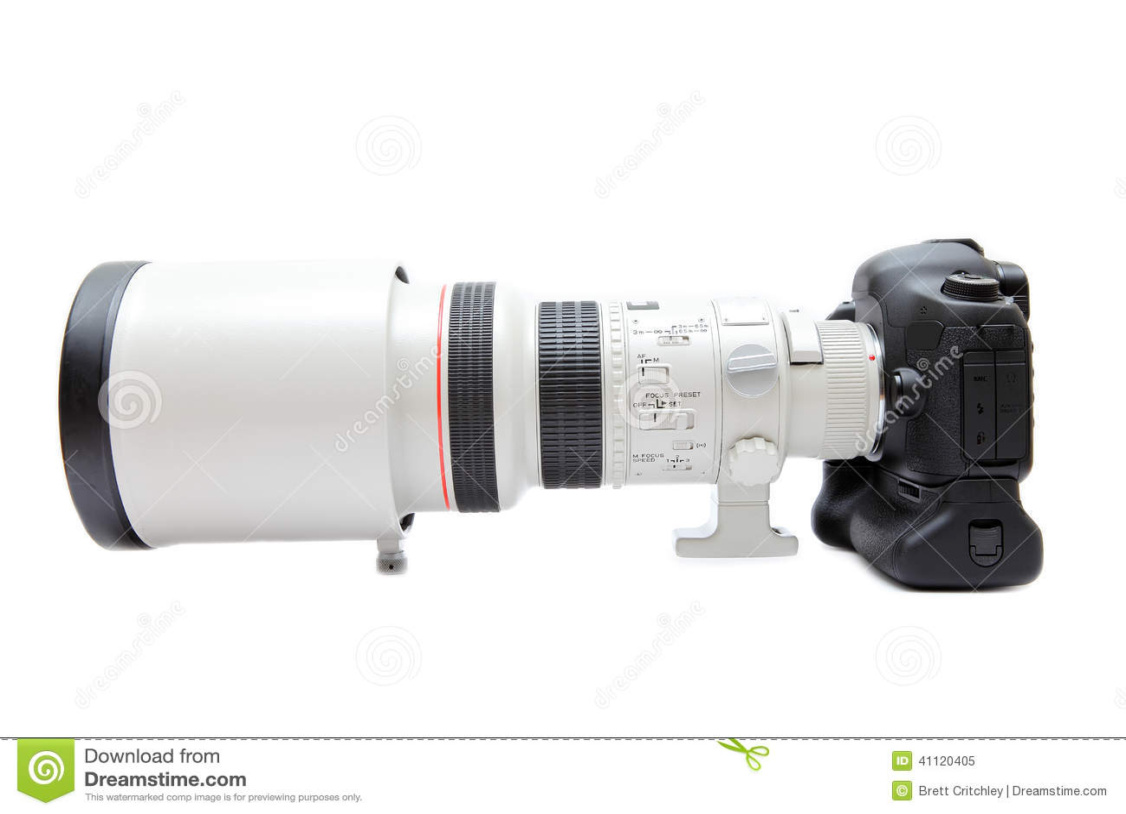 Telephoto lens on camera stock image  Image of front - 41120405