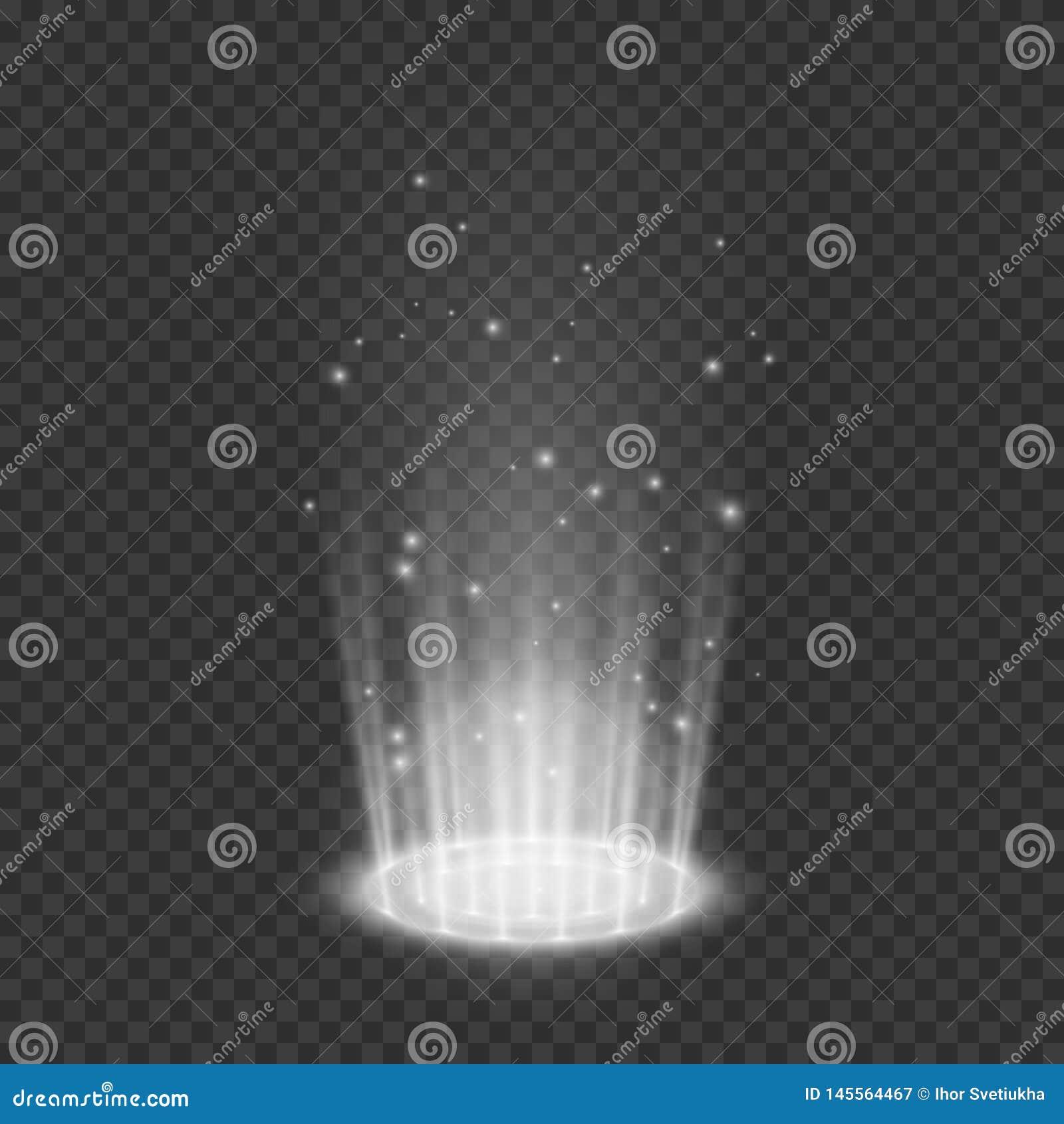 Teleport efeitos da luz Portal m?gico Elemento hologr?fico futurista do projeto Ilustra??o do vetor isolada em transparente