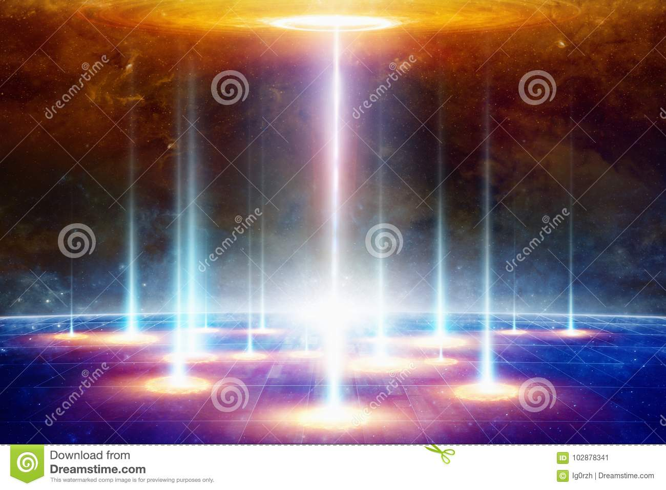 Teleportation to another world or dimension, secret scientific e