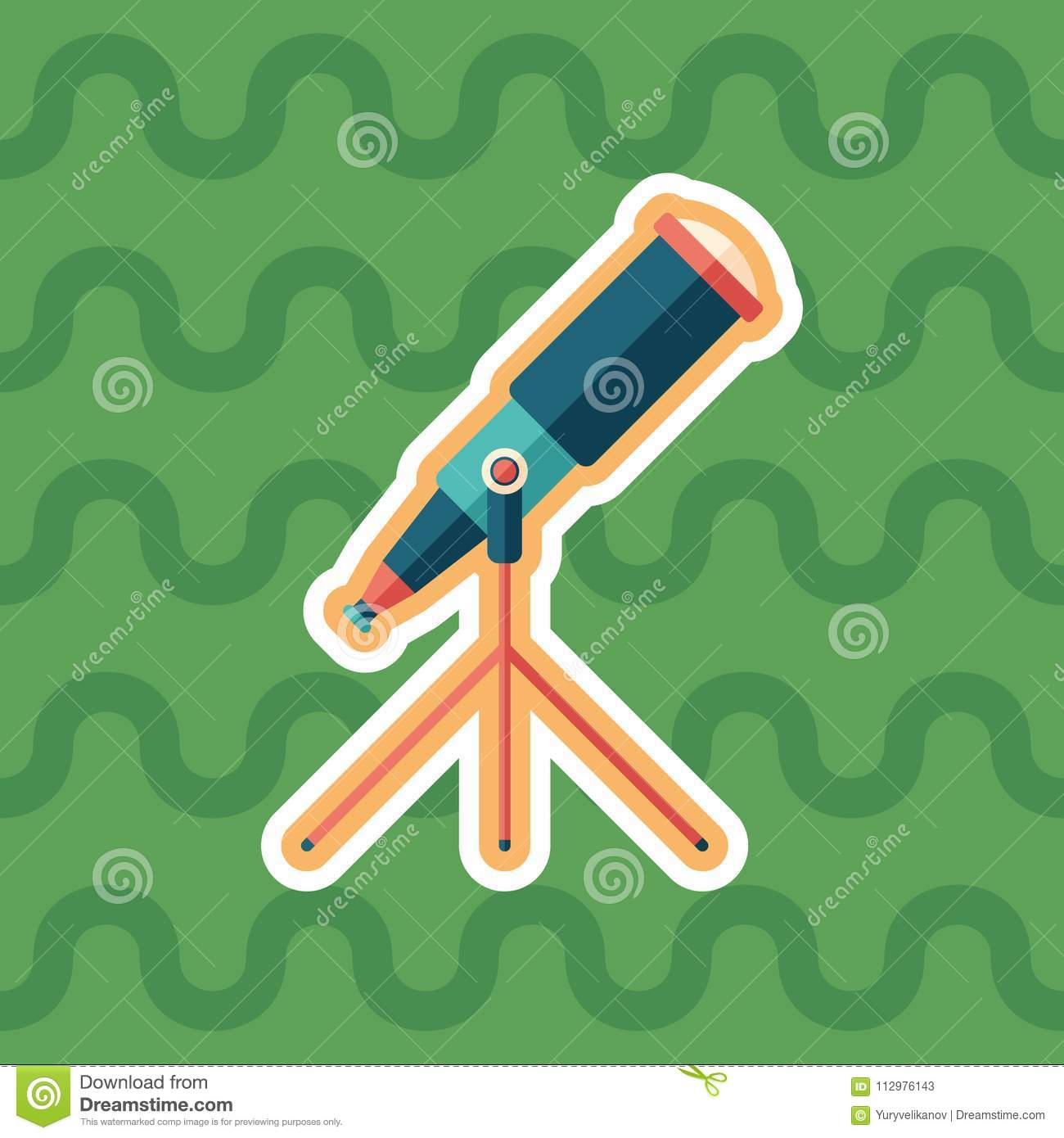 Telescope sticker flat icon with color background.