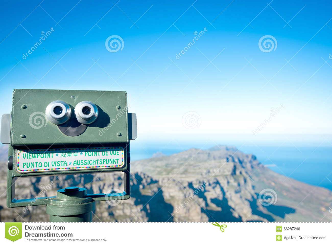 Telescope At Table Mountain In Cape Town Stock Photo ...