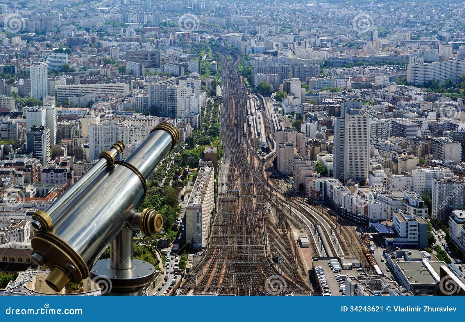 Telescope Viewer And City Skyline At Daytime Paris