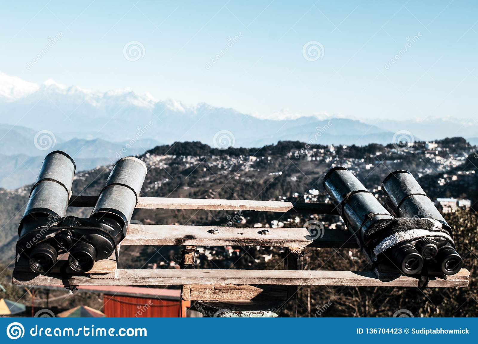 Telescopes, Binoculars, field glasses mounted for viewer to magnify binocular vision to see Kanchenjunga, Everest, Annapurna mou