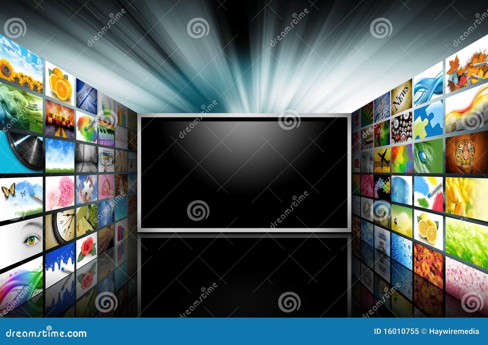 Televisão da tela lisa com imagens