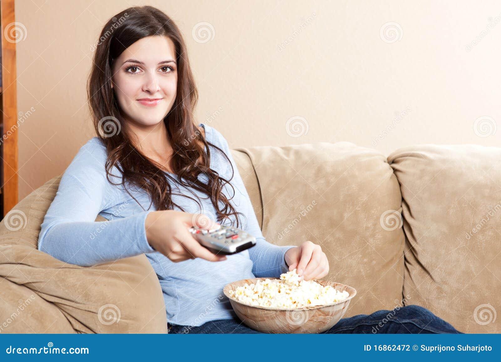 Televisão de observação da mulher