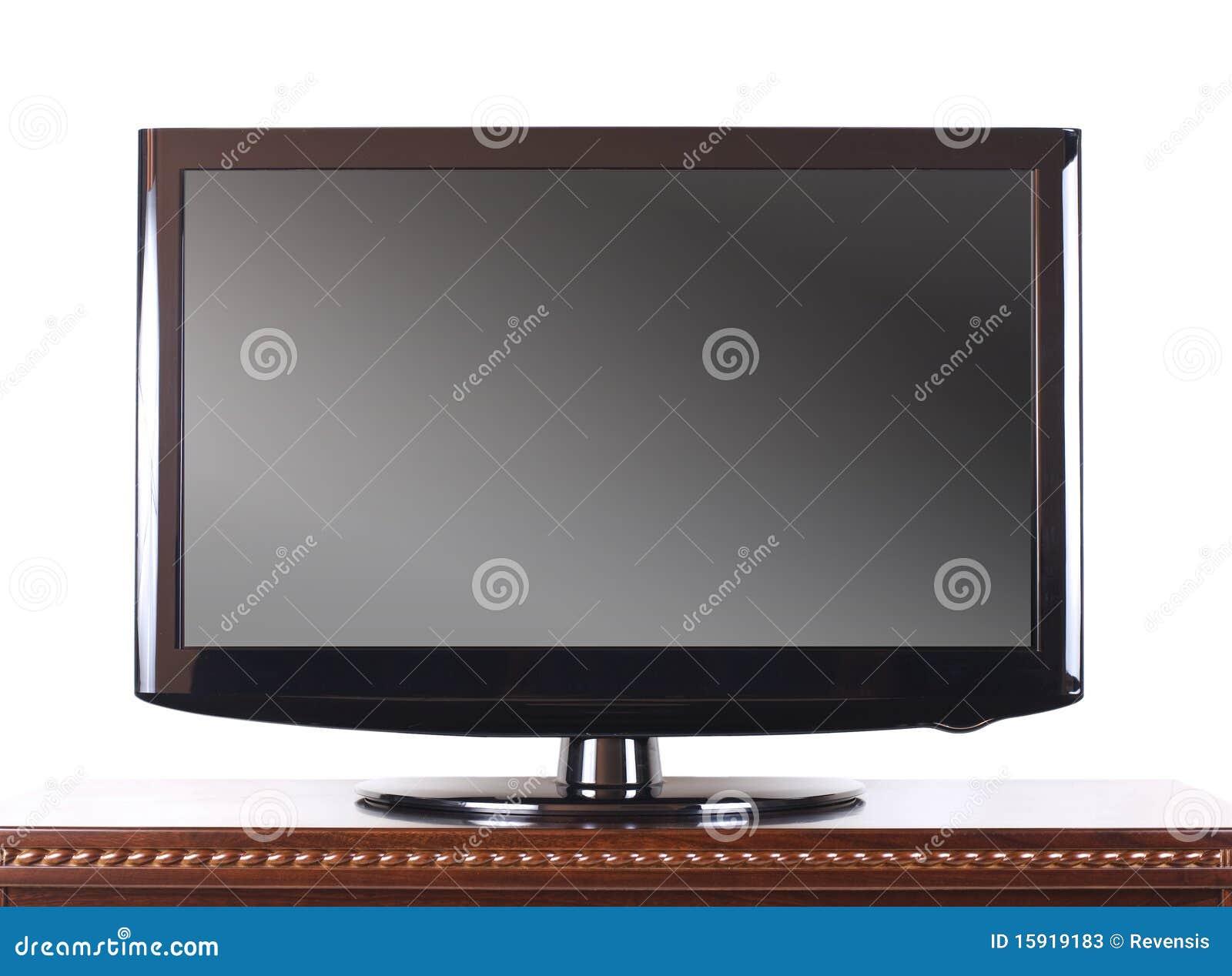 Televisión moderna en la cabina de madera