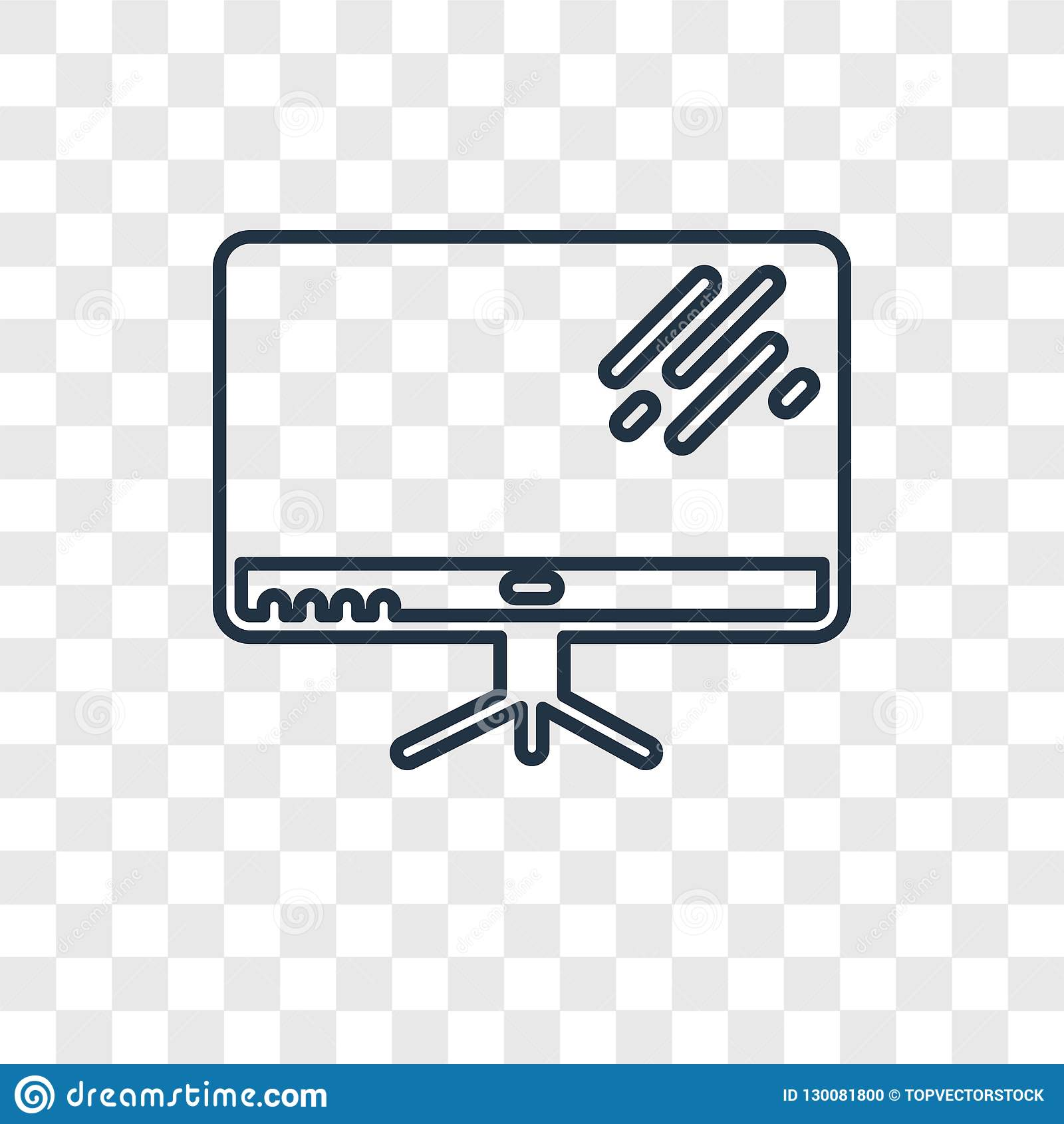 Television concept vector linear icon isolated on transparent ba