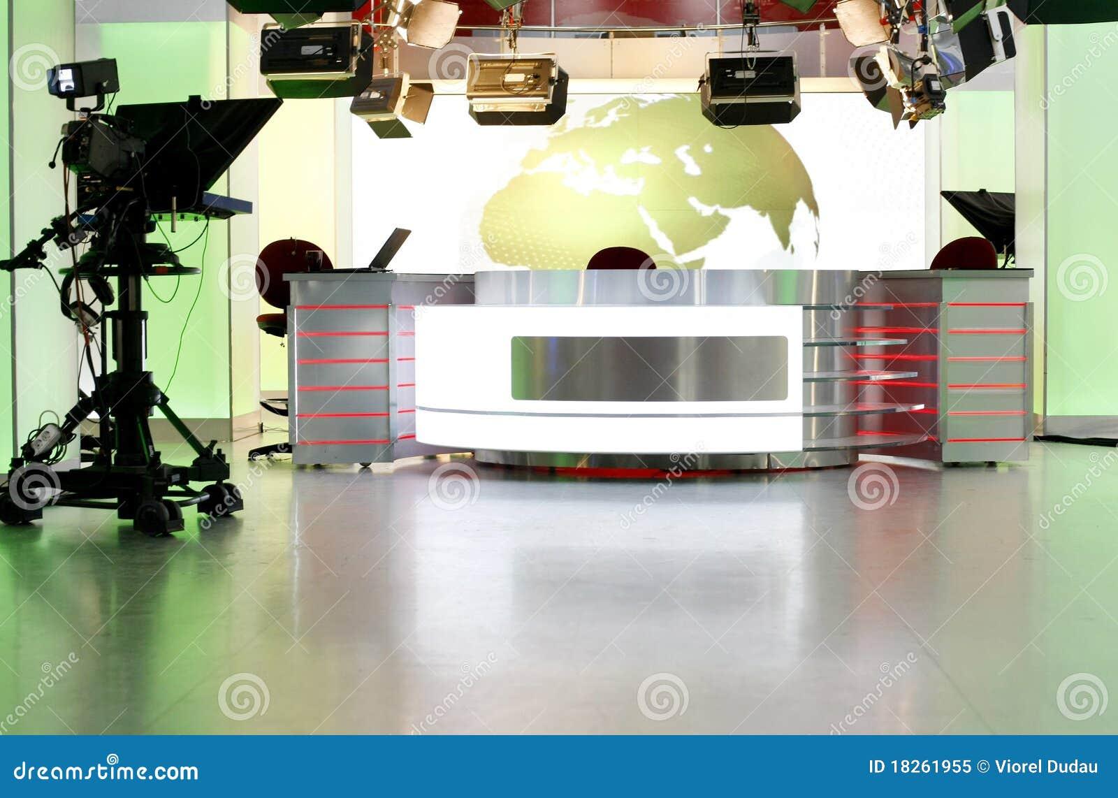 Television för skrivbordnyheternastudio