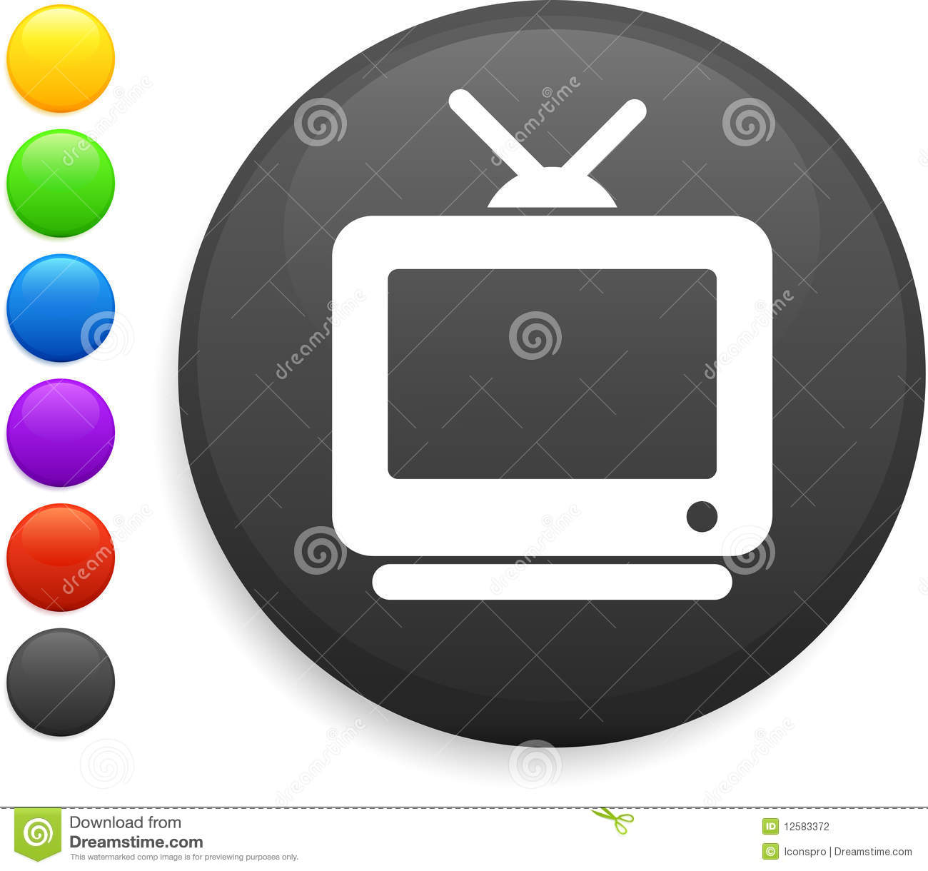 Television icon on round internet buttonoriginal illustration6 color ...