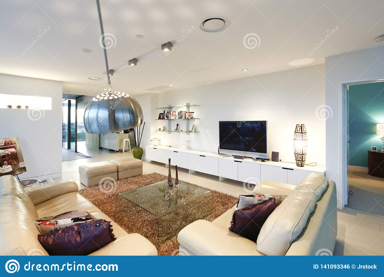 Television In Living Room Near Sofa Set Stock Photo - Image ...