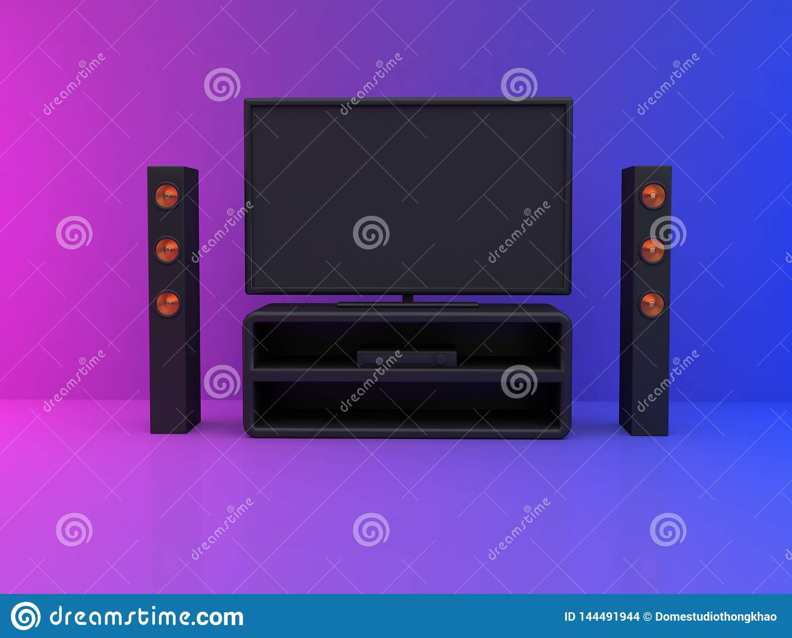 television monitor in room pink blue scene 3d render home theater,entertainment concept
