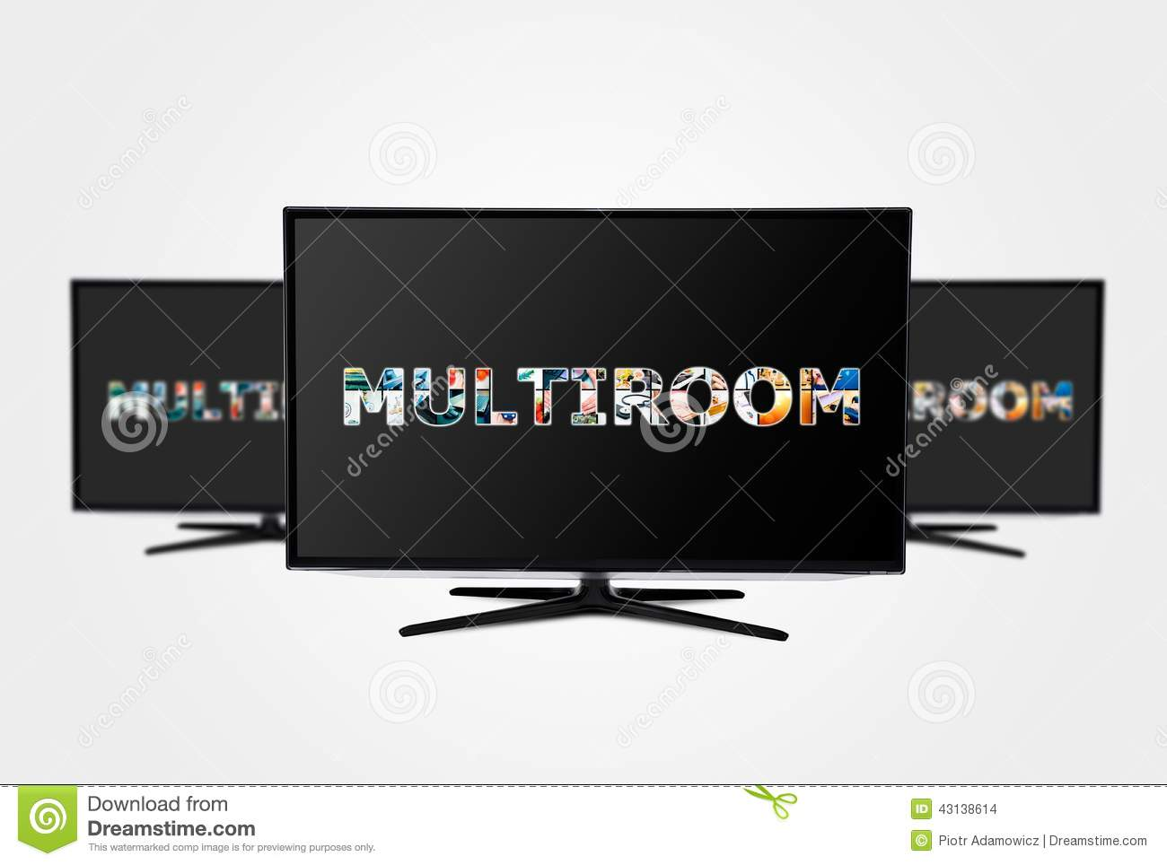 Television multi-room technology. Display with multiple masked images.
