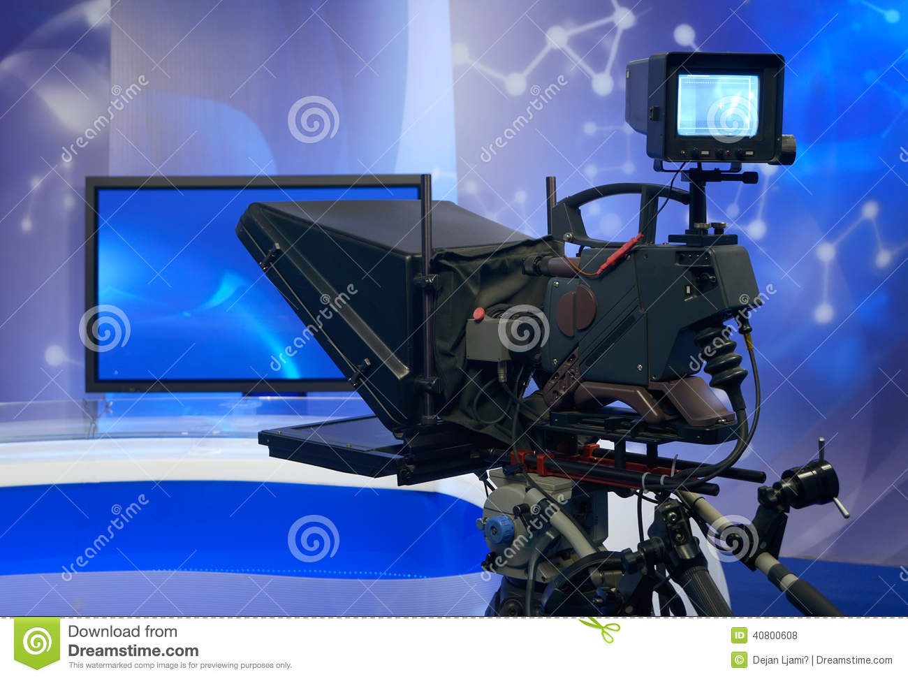 Television news studio with camera stock photo image - Tv in camera ...