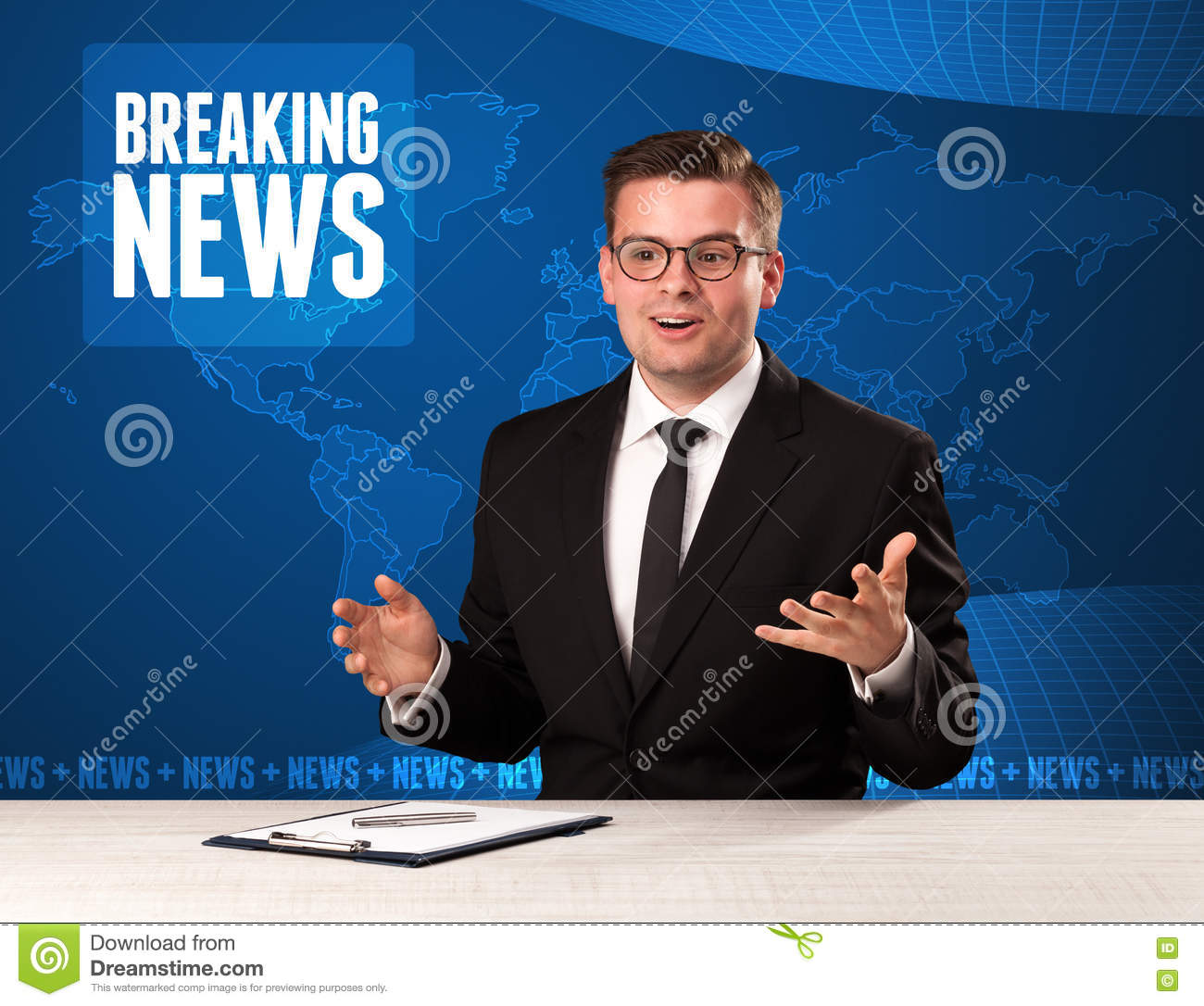 Breaking News: Television Presenter In Front Telling Breaking News With