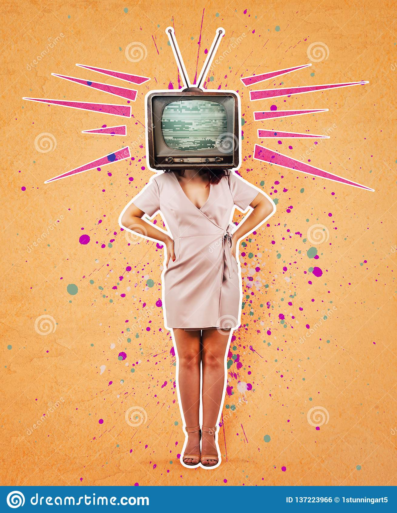 Television propaganda art collage