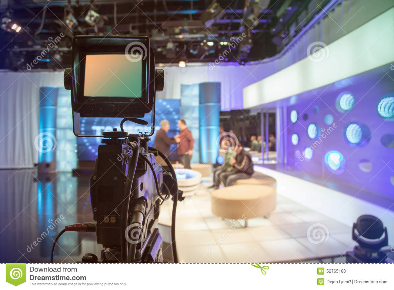 Television Studio With Camera And Lights Recording Tv