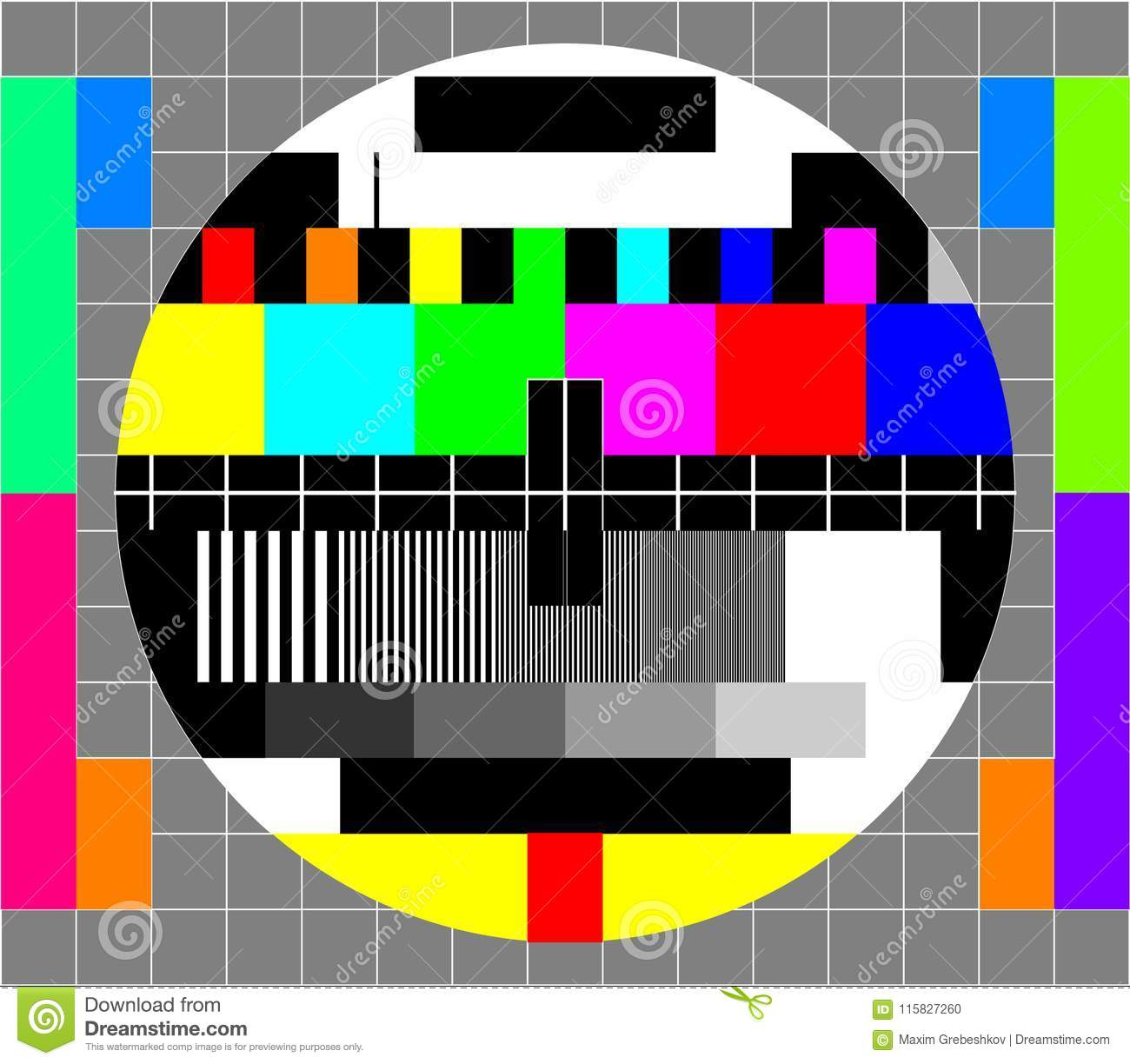 Television test card stock vector  Illustration of screen - 115827260