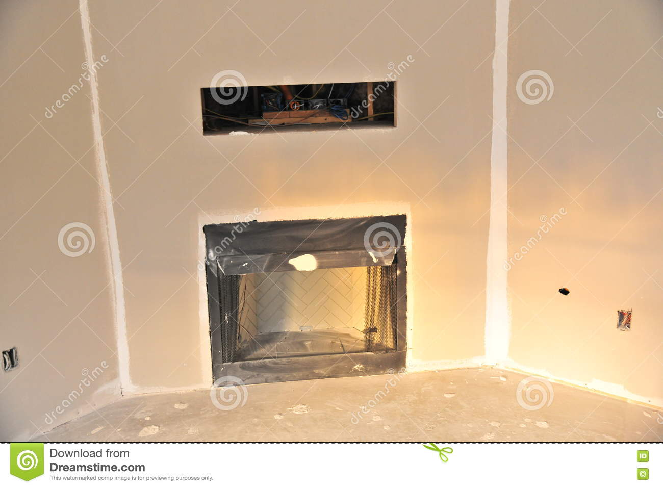 Television In Wall Conduit Above Fireplace Stock Photo Image Of Wiring For Home