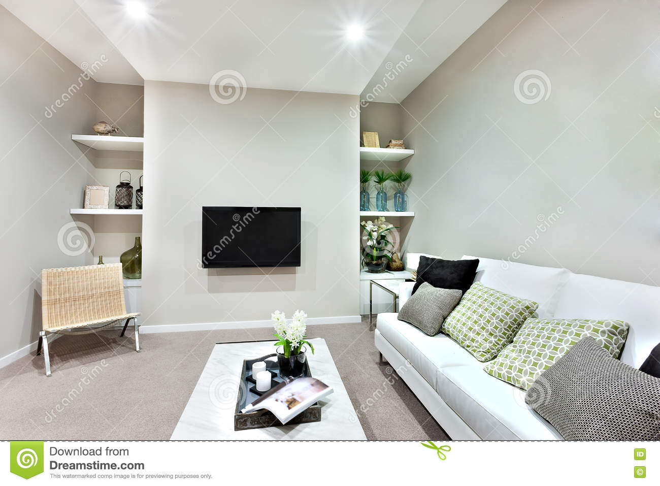 Television On The Wall In A Luxury Living Room Stock Photo - Image ...